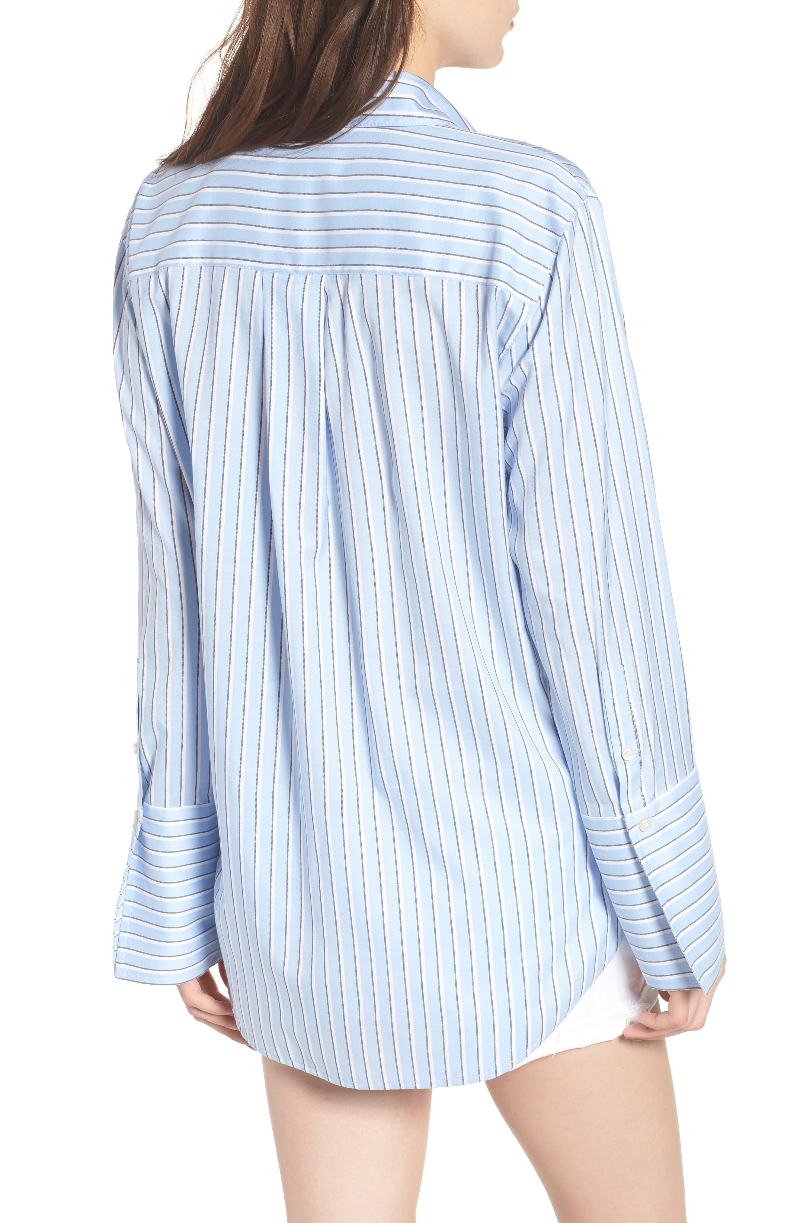 Stripe Button Front Shirt,                             Alternate thumbnail 2, color,                             Blue Brunnera Groove Stripe