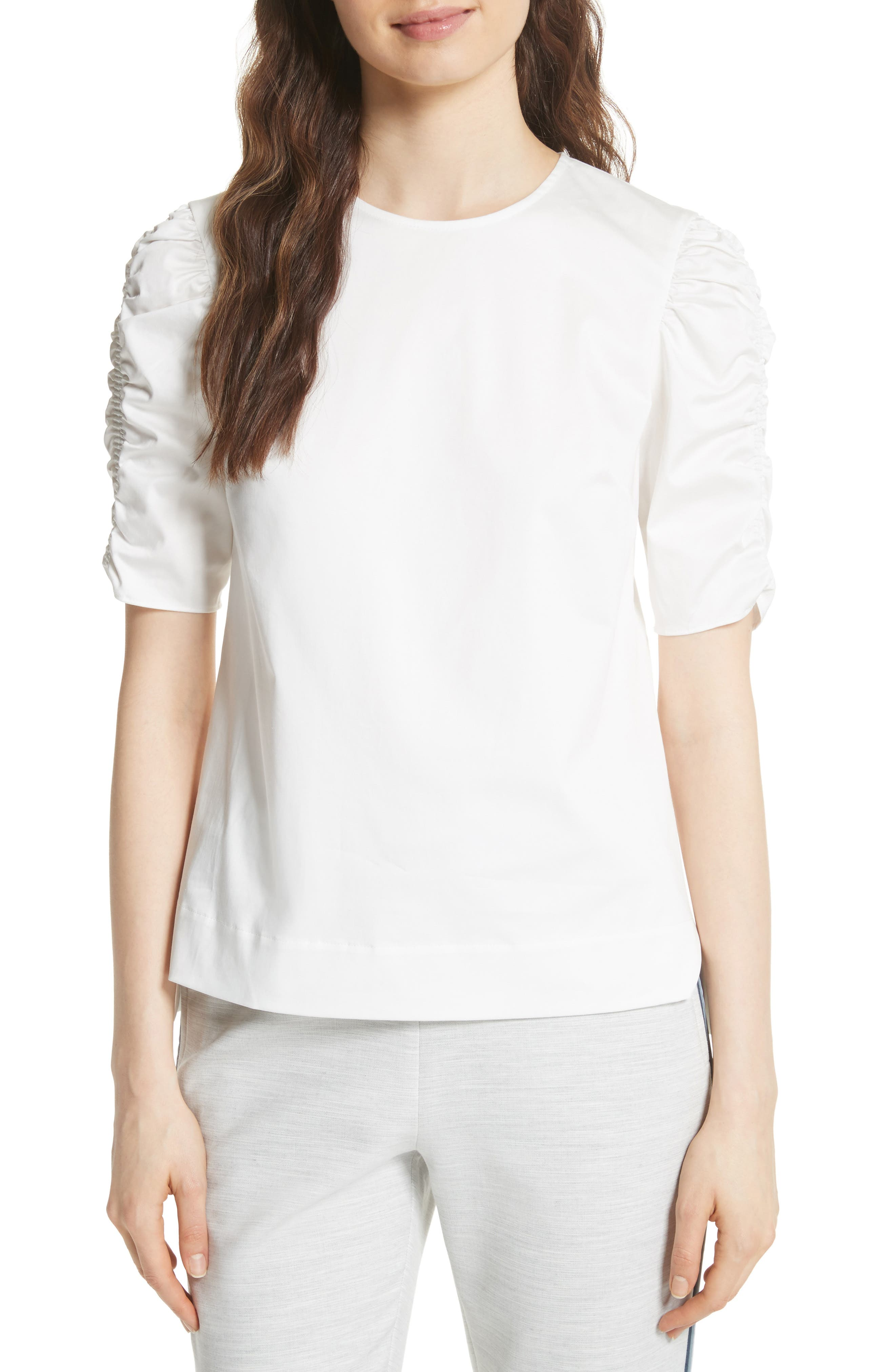 Ruched Sleeve Top,                         Main,                         color, White