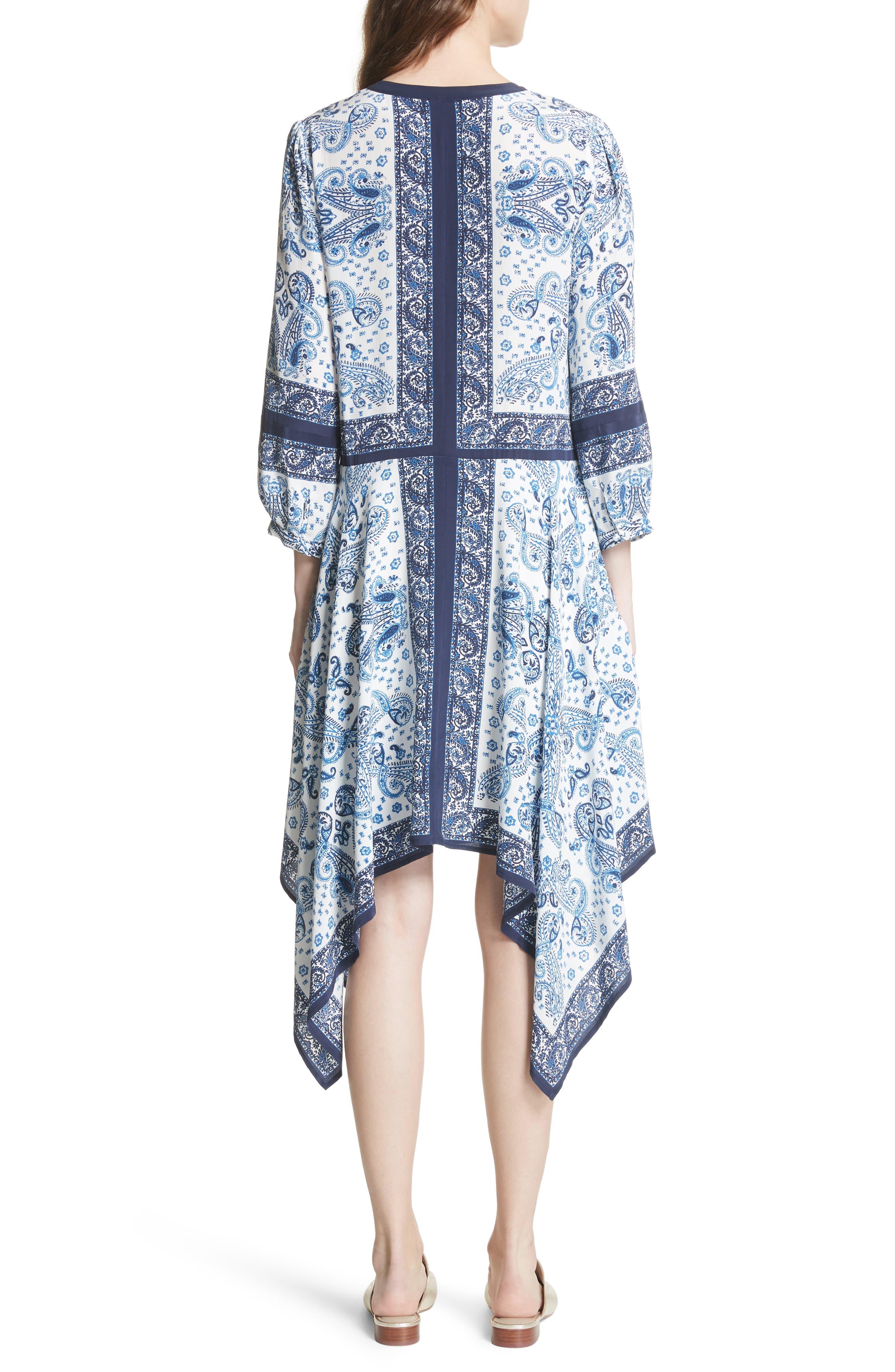 Cyntia Paisley Silk Dress,                             Alternate thumbnail 2, color,                             Porcelain