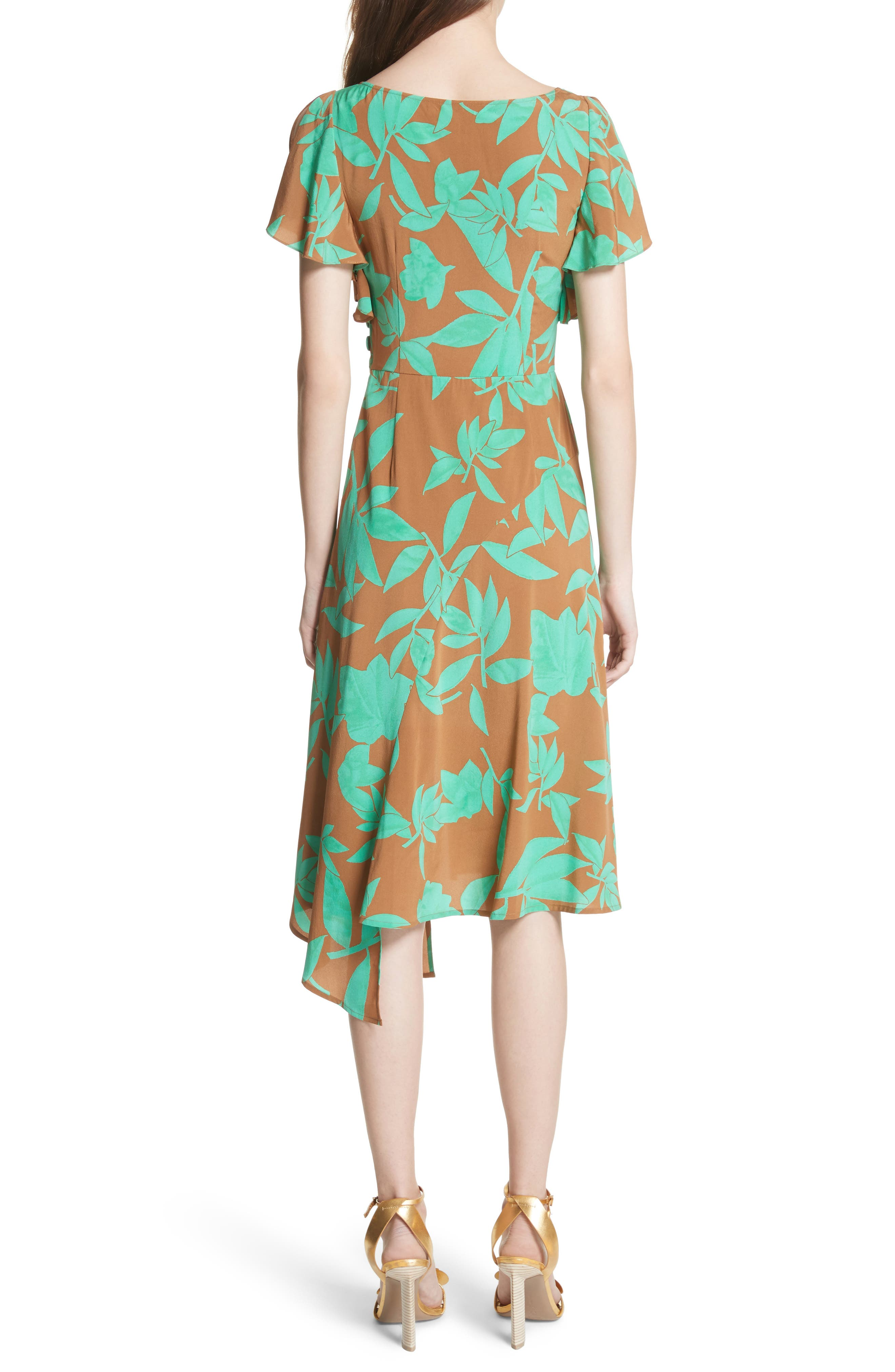 Asymmetrical Faux Wrap Dress,                             Alternate thumbnail 2, color,                             Acorn Jade