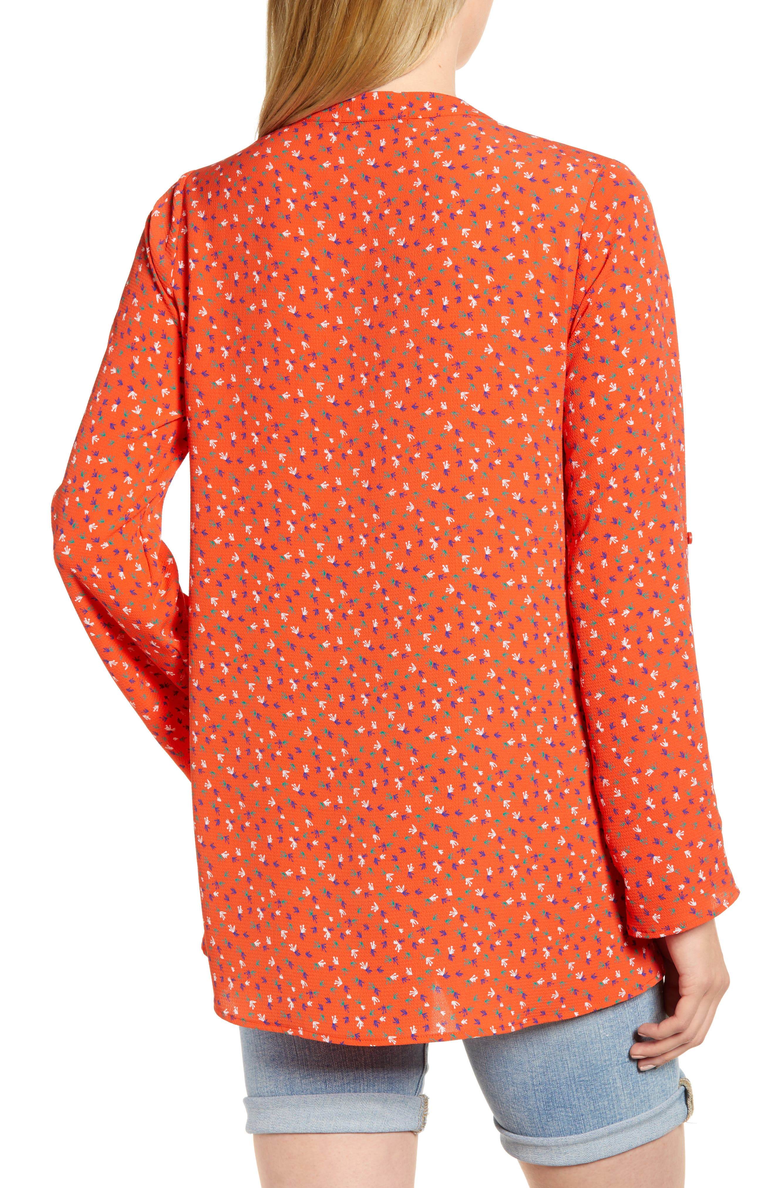 x Living in Yellow Erin Crossover Tunic,                             Alternate thumbnail 3, color,                             Red Floral Print