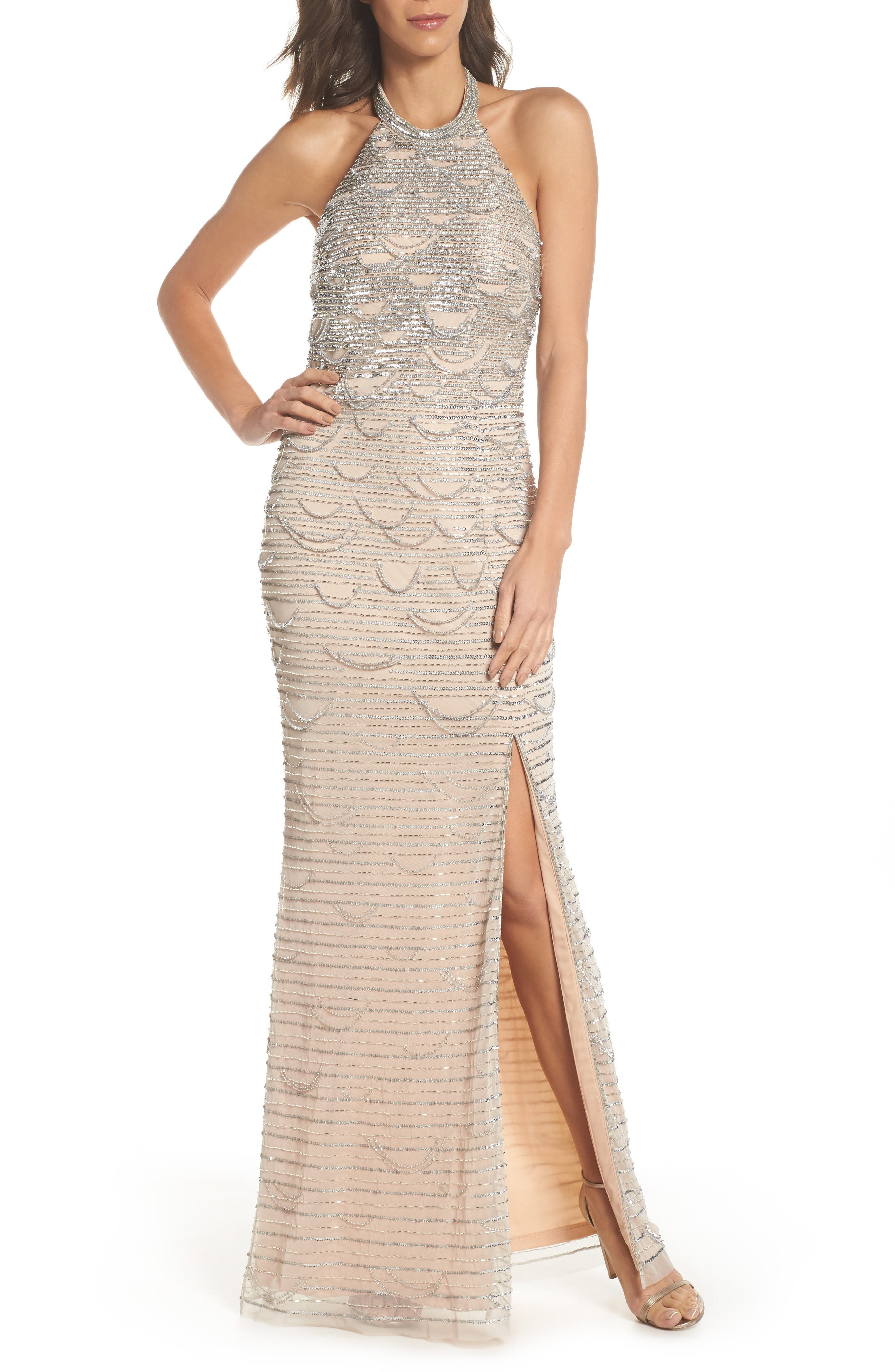 Beaded Halter Gown,                         Main,                         color, Silver/ Nude