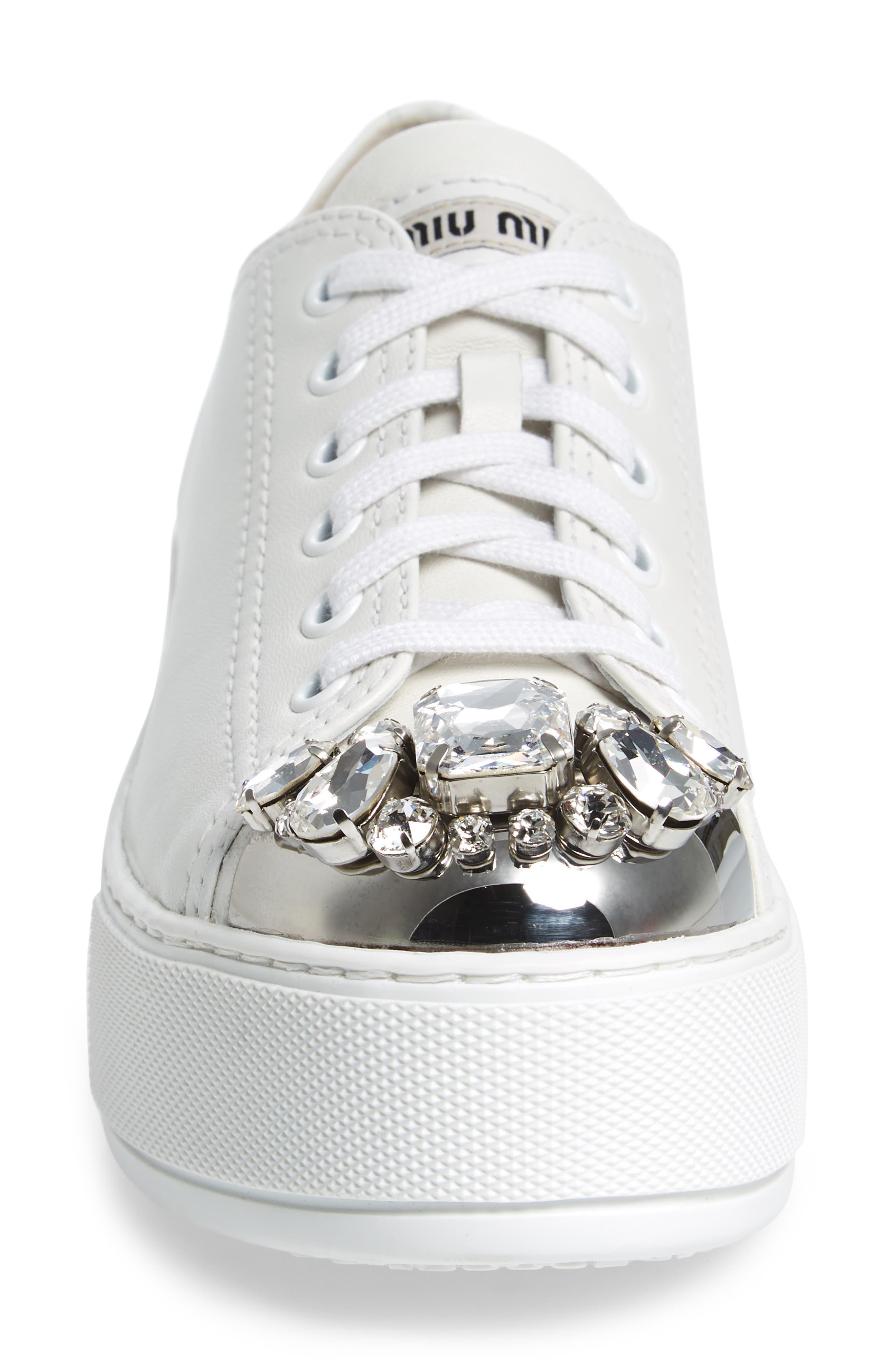 Crystal Cap Toe Sneaker,                             Alternate thumbnail 4, color,                             White