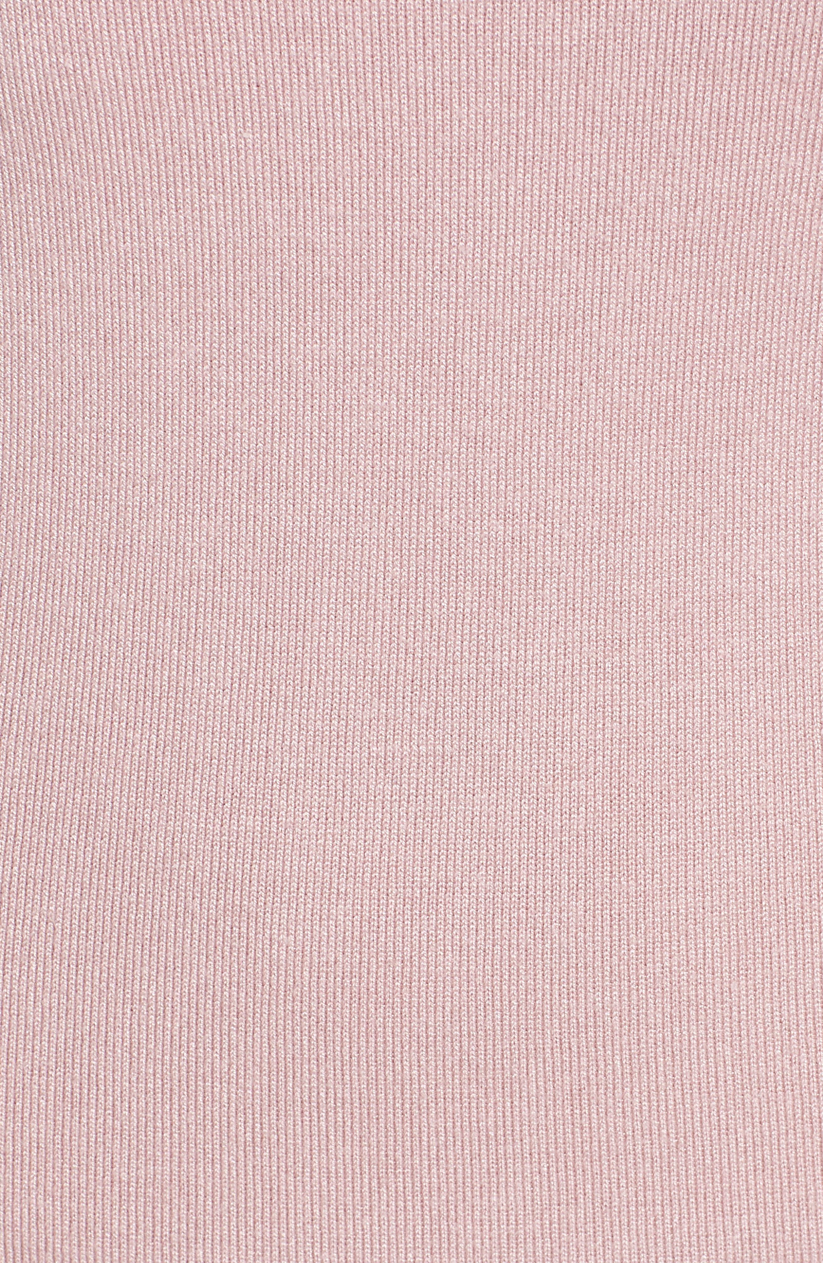 Body-Con Midi Dress,                             Alternate thumbnail 5, color,                             Light Pink
