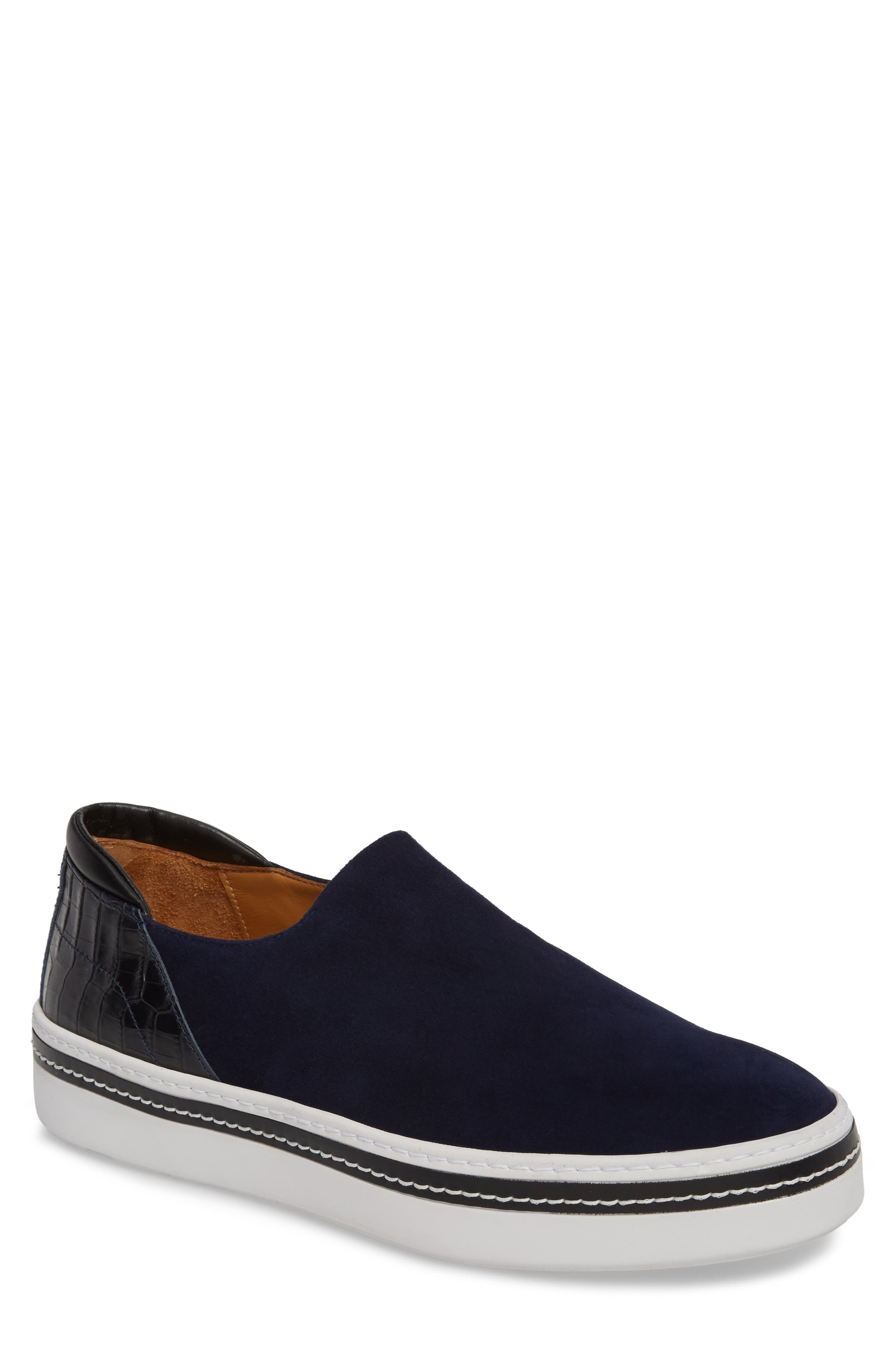 Stan Slip-On Sneaker,                             Main thumbnail 1, color,                             Midnight Blue Suede