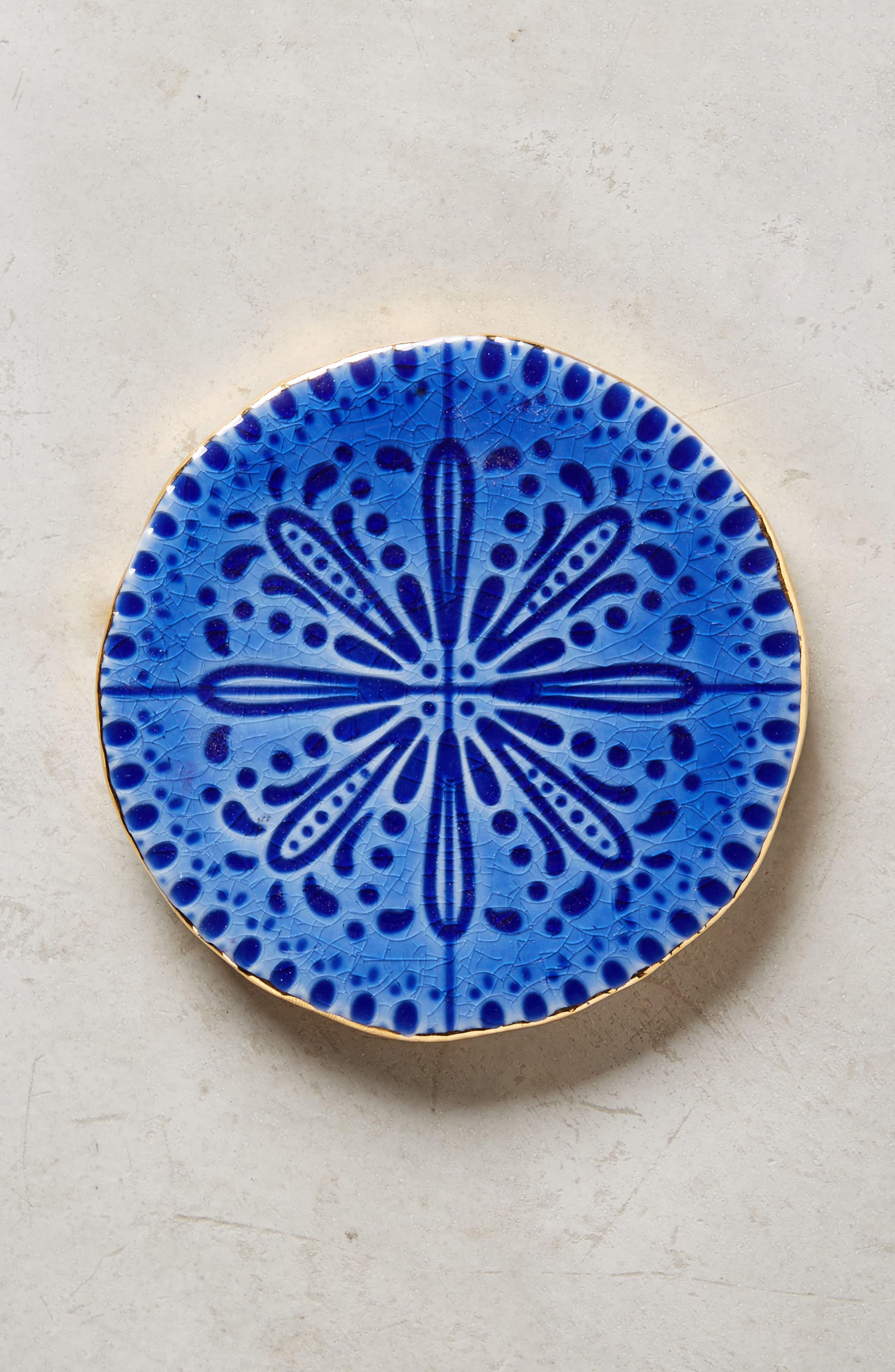 Pasatiempo Stoneware Coaster,                         Main,                         color, Sapphire