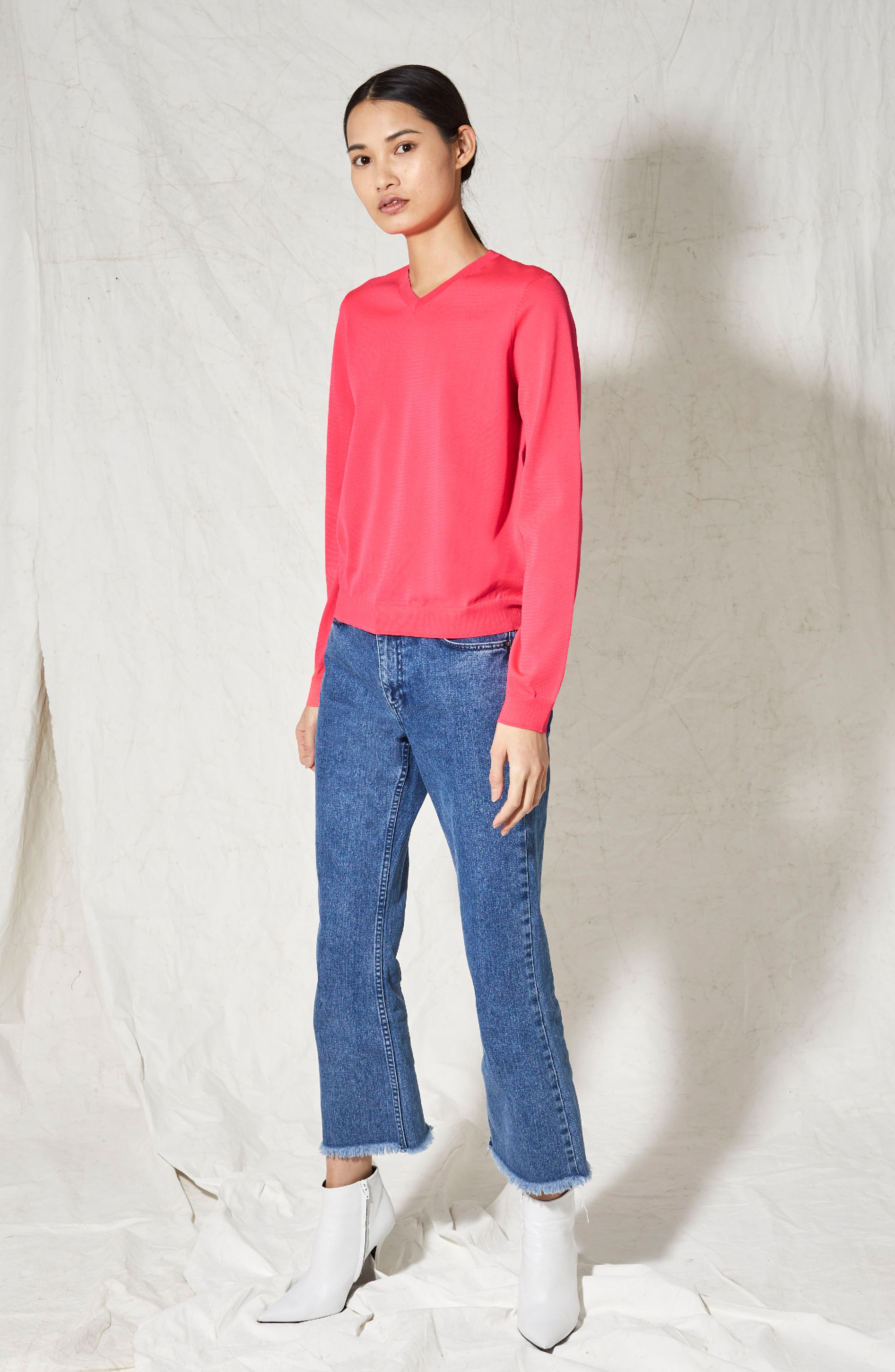 V-Neck Sweater,                             Alternate thumbnail 2, color,                             Bright Pink