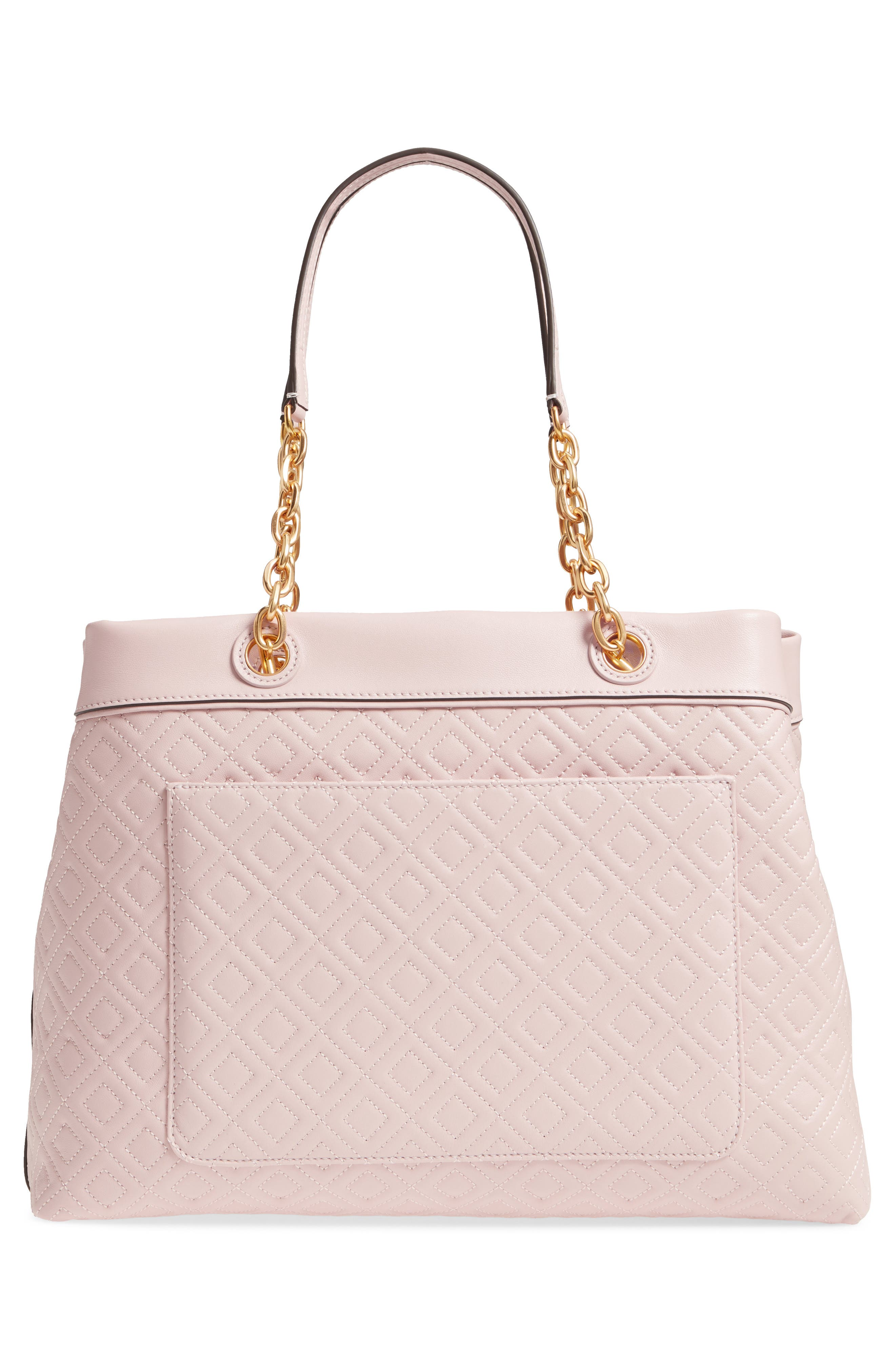 Fleming Triple Compartment Leather Tote,                             Alternate thumbnail 3, color,                             Shell Pink