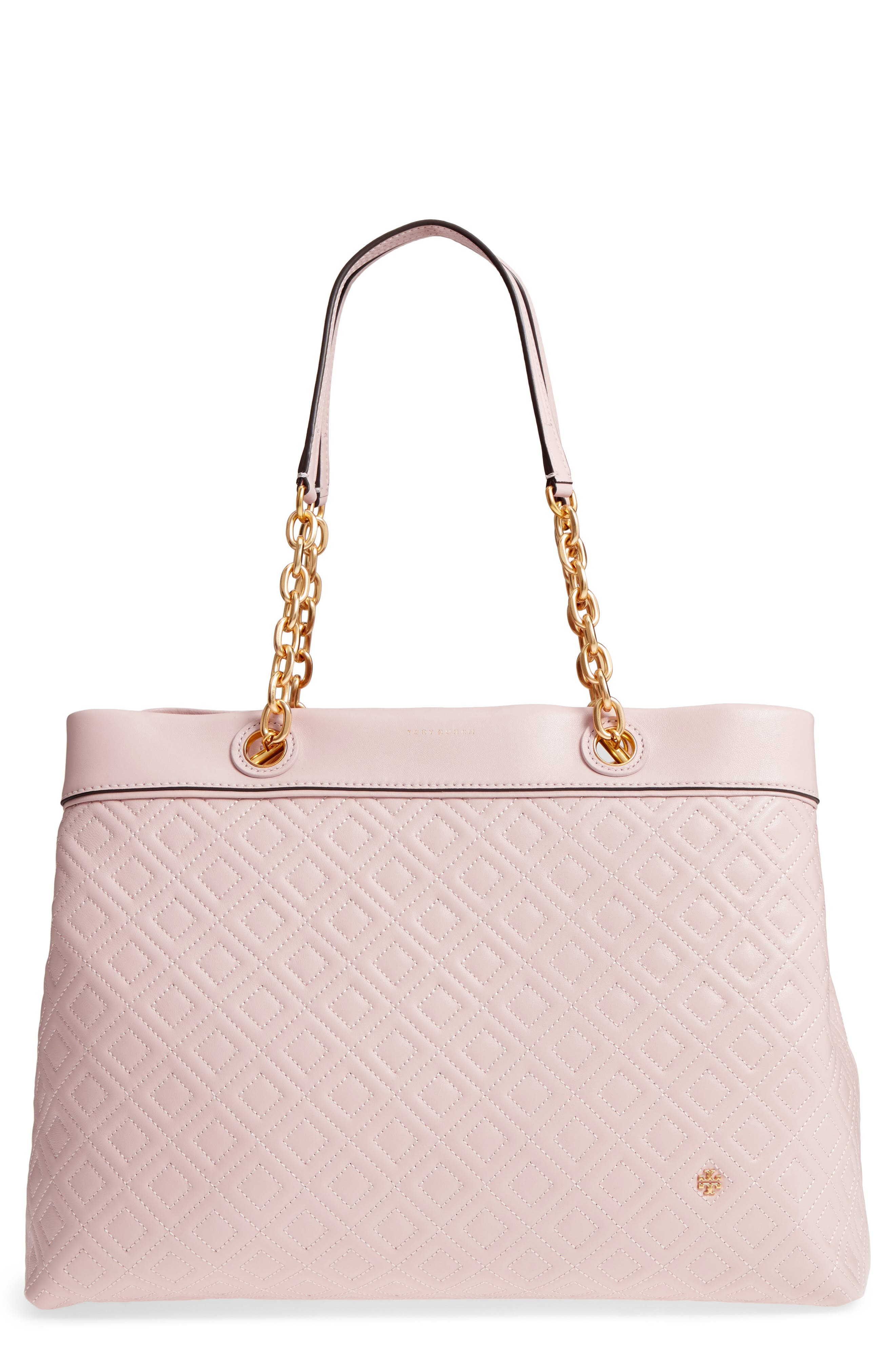 Fleming Triple Compartment Leather Tote,                         Main,                         color, Shell Pink
