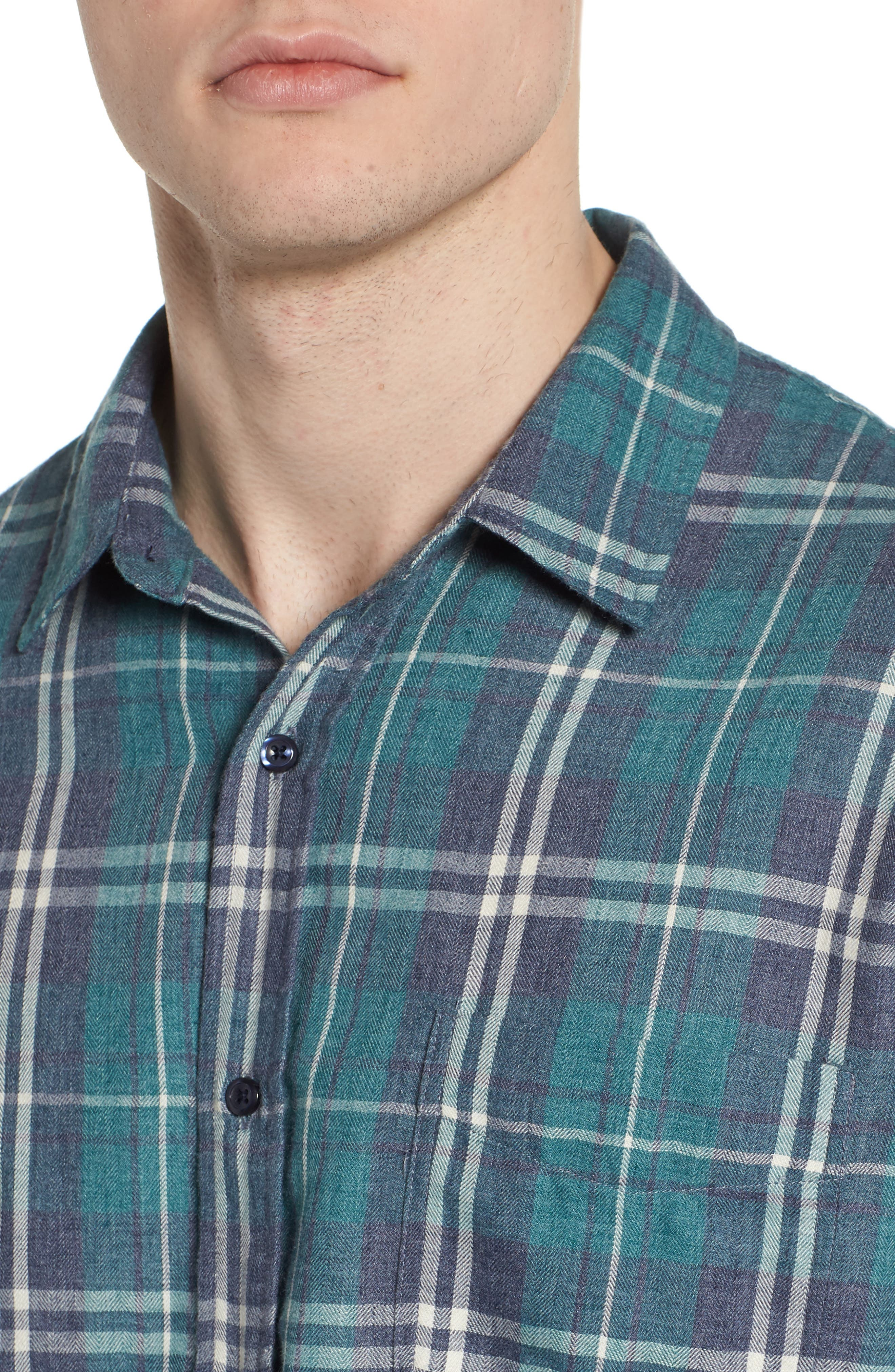 Lennox Slim Fit Plaid Woven Shirt,                             Alternate thumbnail 4, color,                             Veridian Navy White