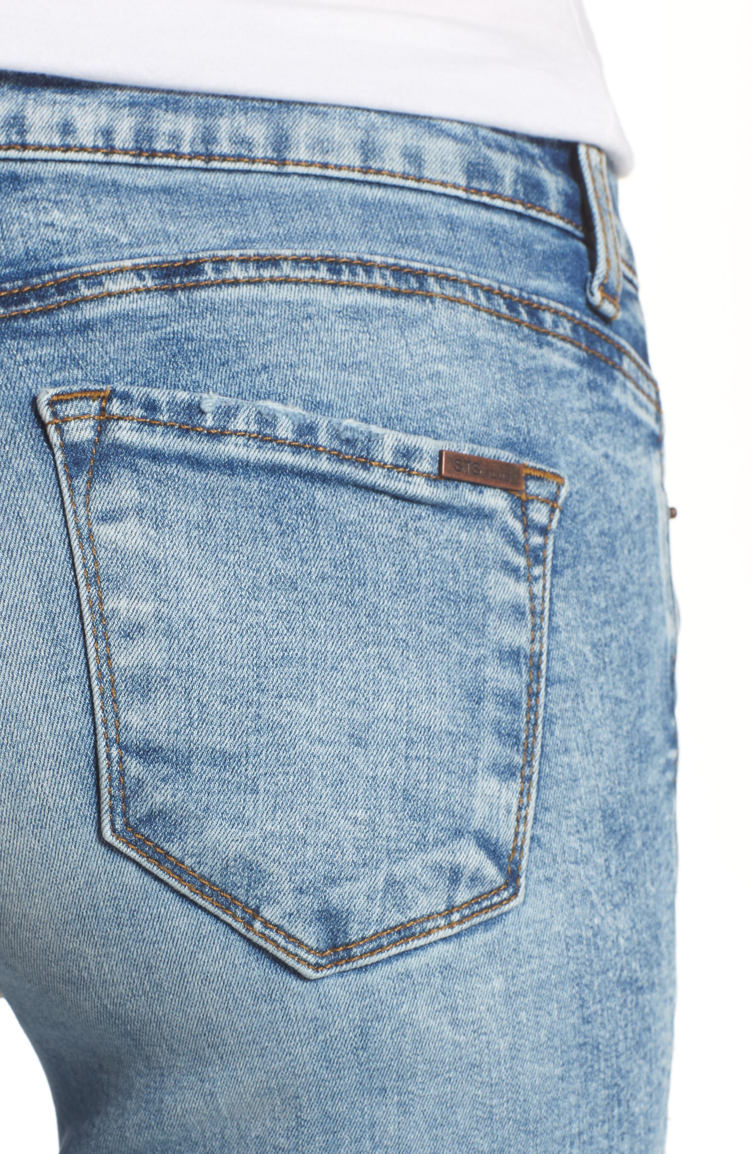 Emma Fray Hem Ankle Skinny Jeans,                             Alternate thumbnail 4, color,                             Durkee