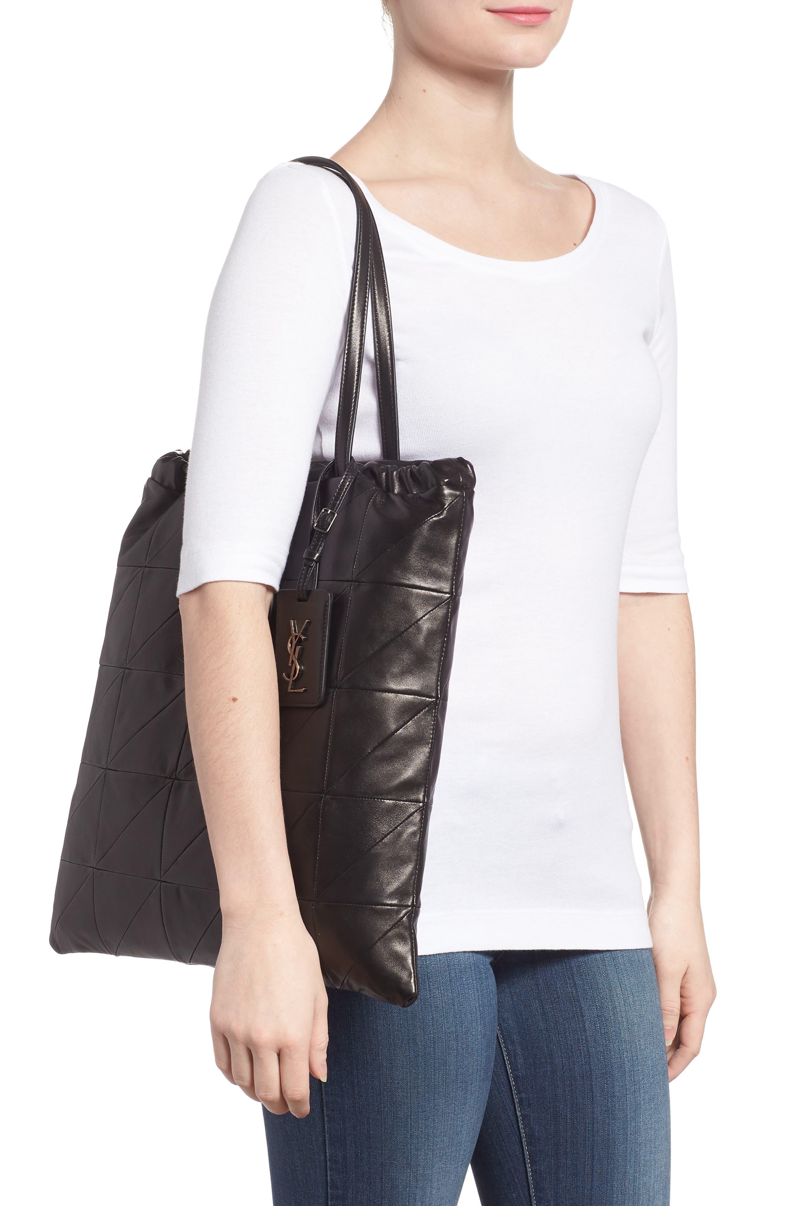 Antibe Flat Leather Shopper,                             Alternate thumbnail 2, color,                             Noir