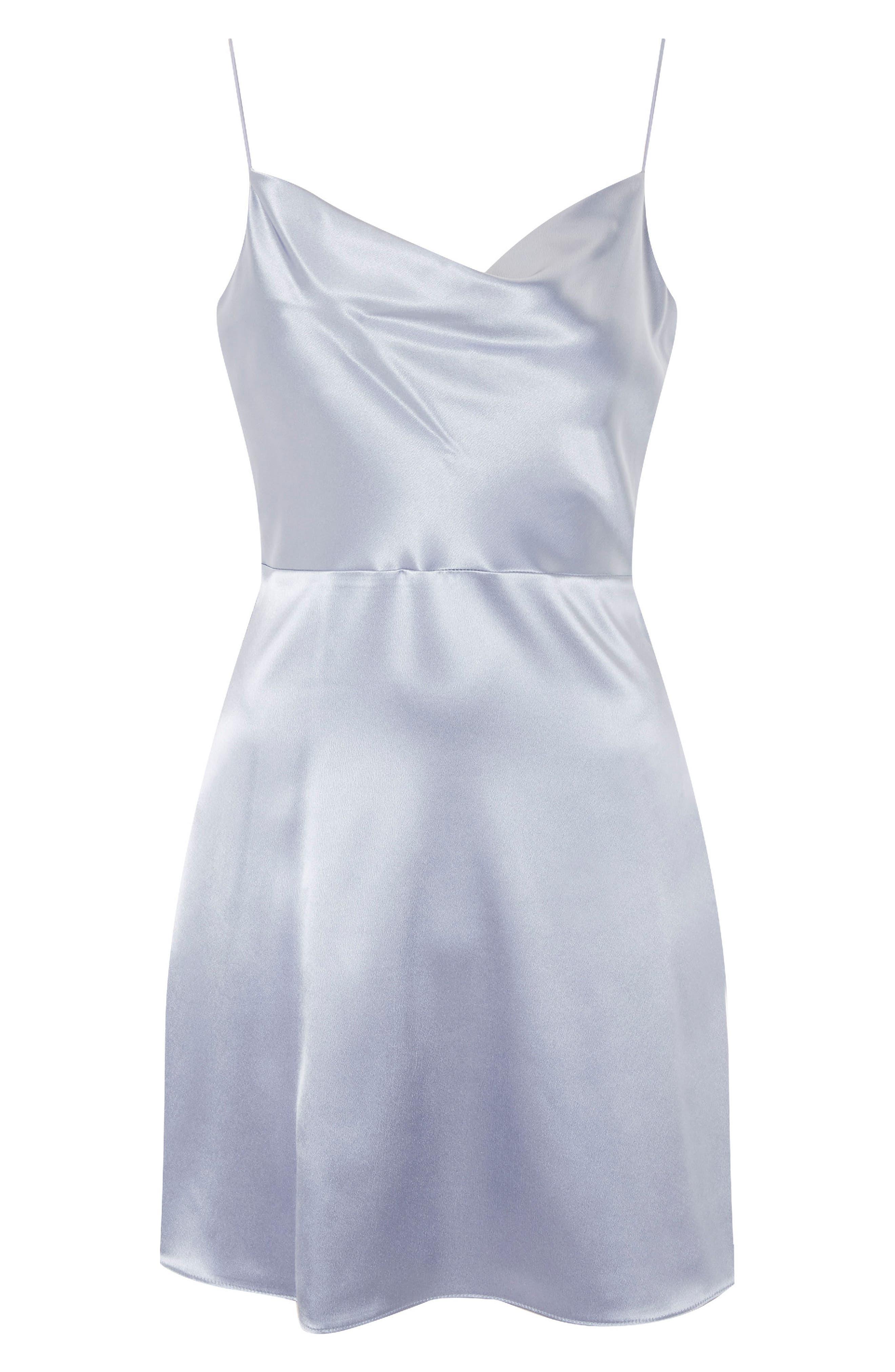 Cowl Neck Satin Mini Slipdress,                             Alternate thumbnail 4, color,                             Light Blue