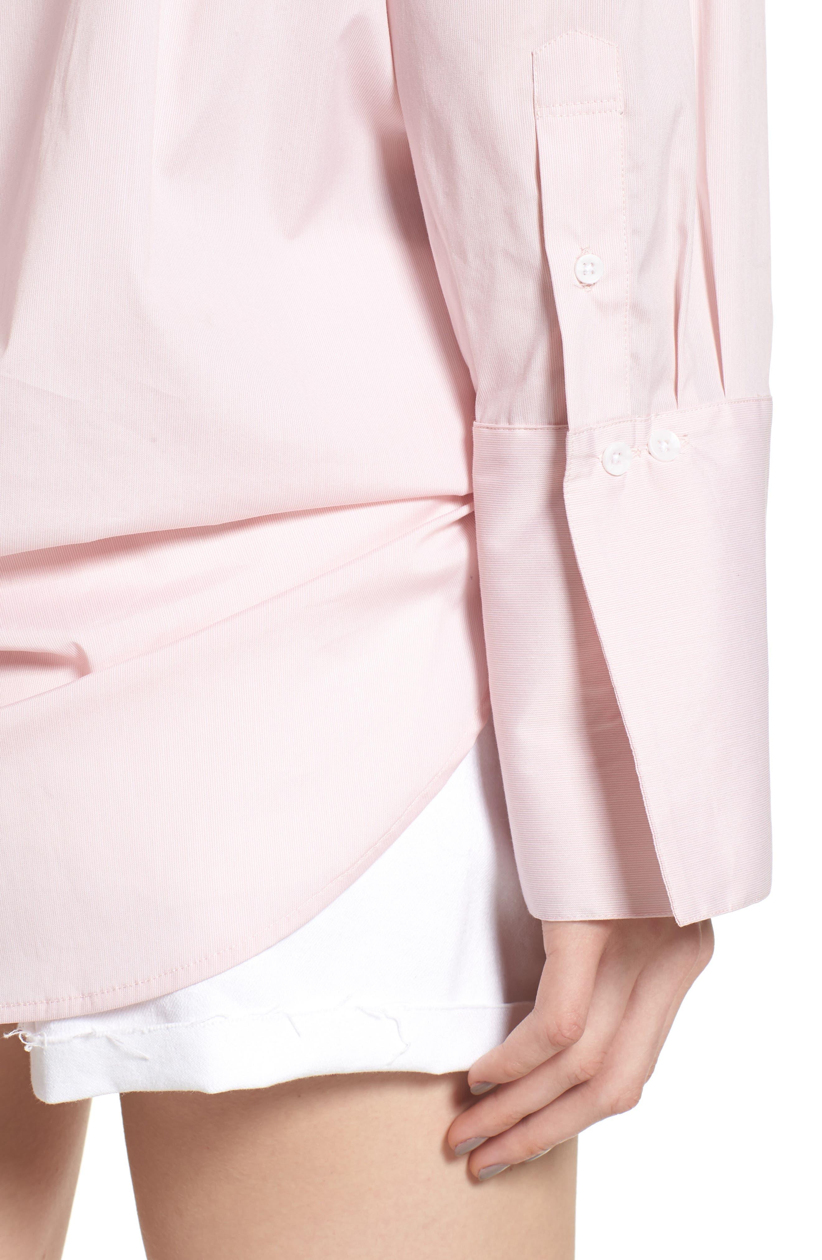 Loose Sleeve Poplin Tunic Shirt,                             Alternate thumbnail 5, color,                             Pink Silver Micro Stripe