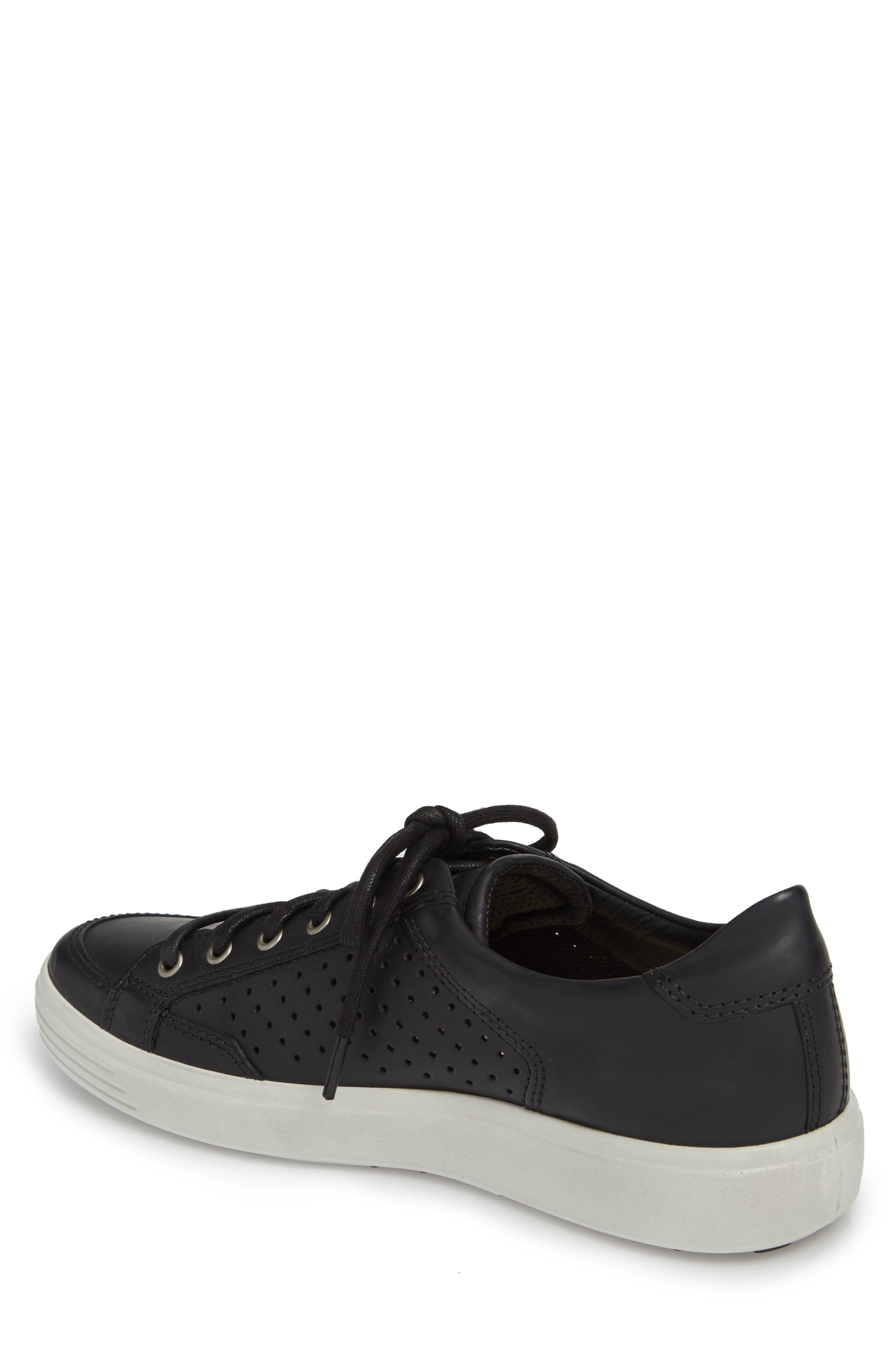 Soft 7 Retro Perforated Low Top Sneaker,                             Alternate thumbnail 2, color,                             Black Leather