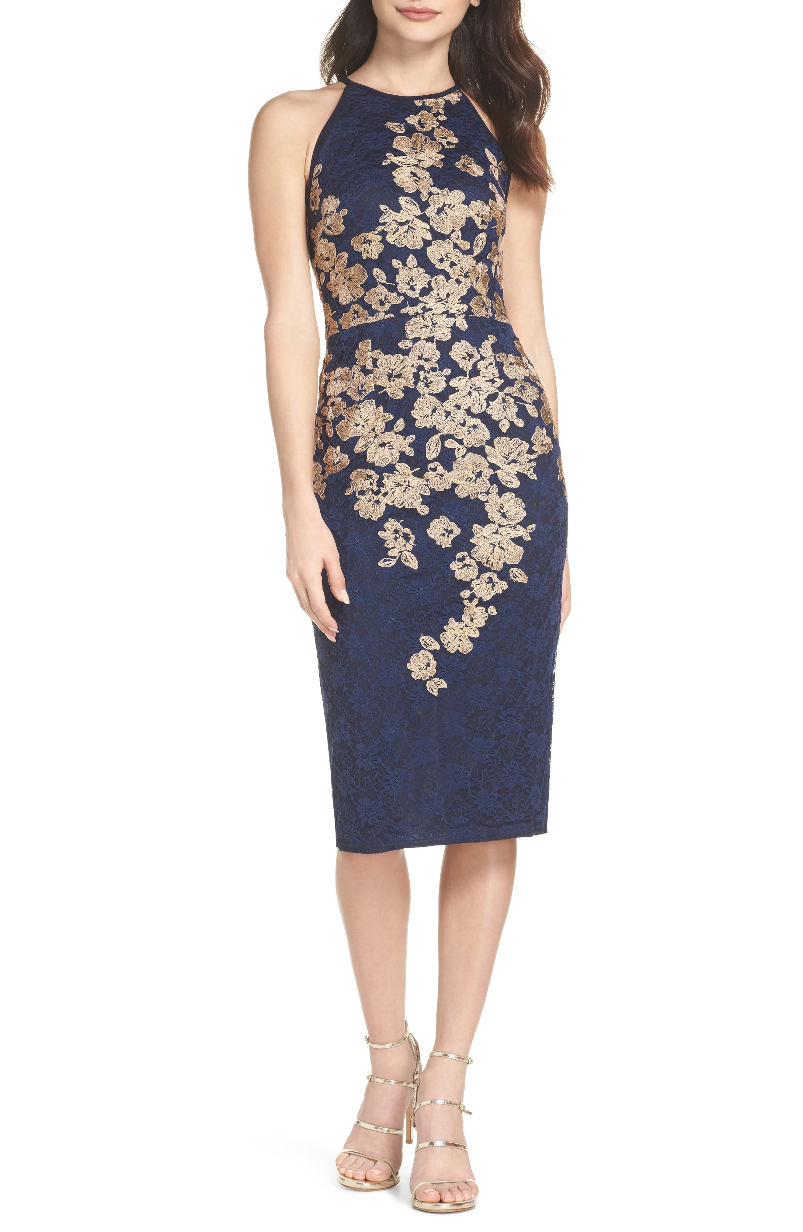 Embroidered Halter Midi Dress,                         Main,                         color, Navy/ Gold