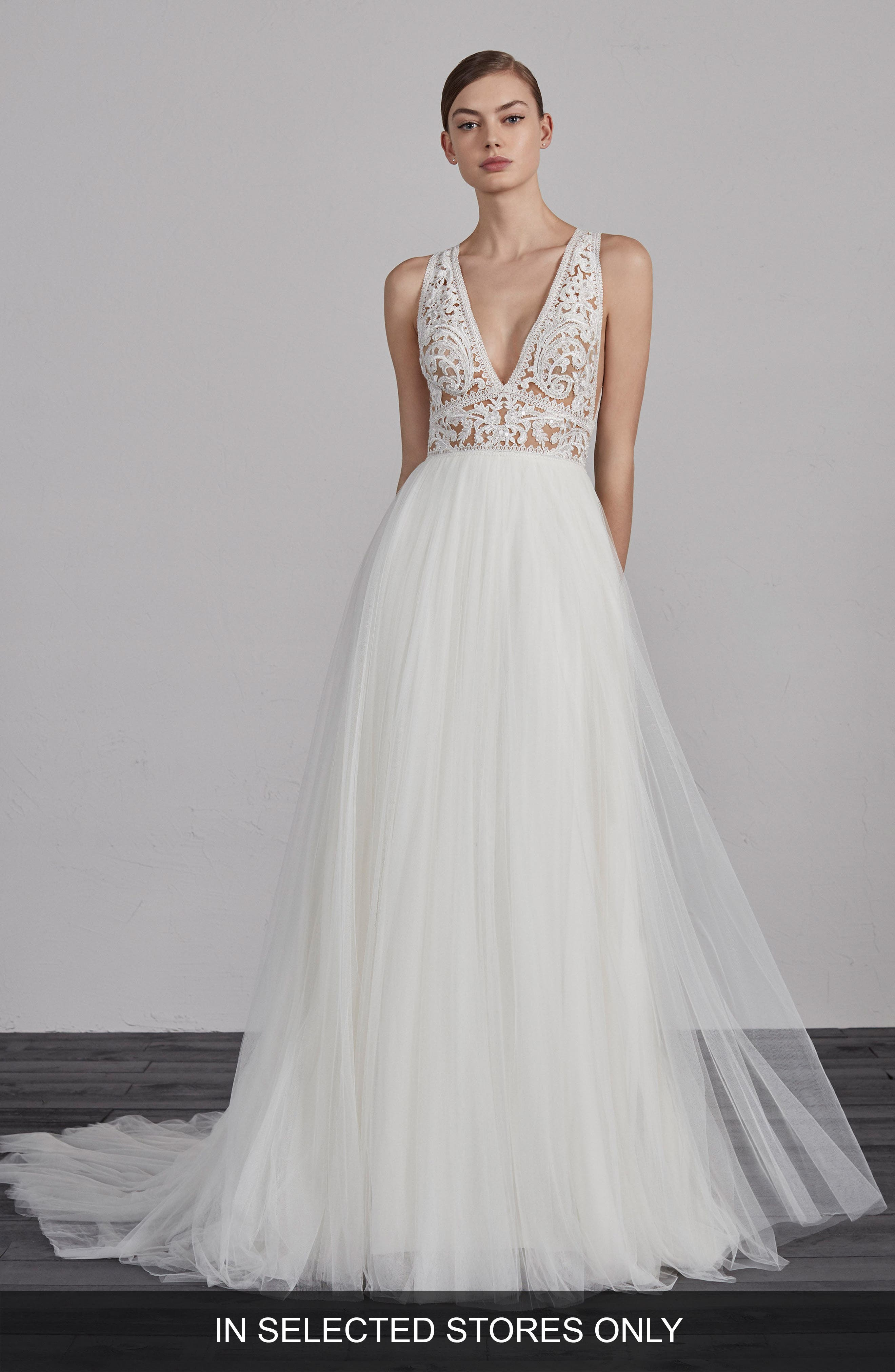 Espiga V-Neck Lace & Tulle Gown,                             Main thumbnail 1, color,                             Off White