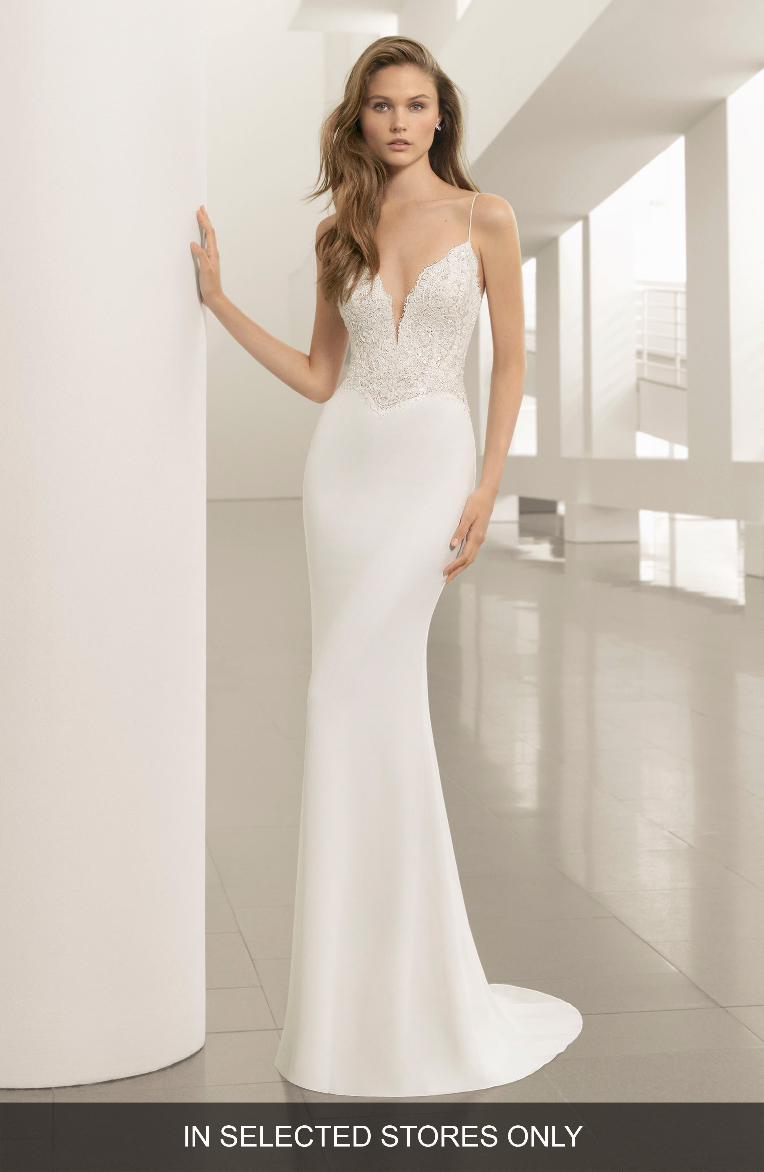 Pravia Lace & Crepe Plunge Gown,                             Main thumbnail 1, color,                             Natural/Nude