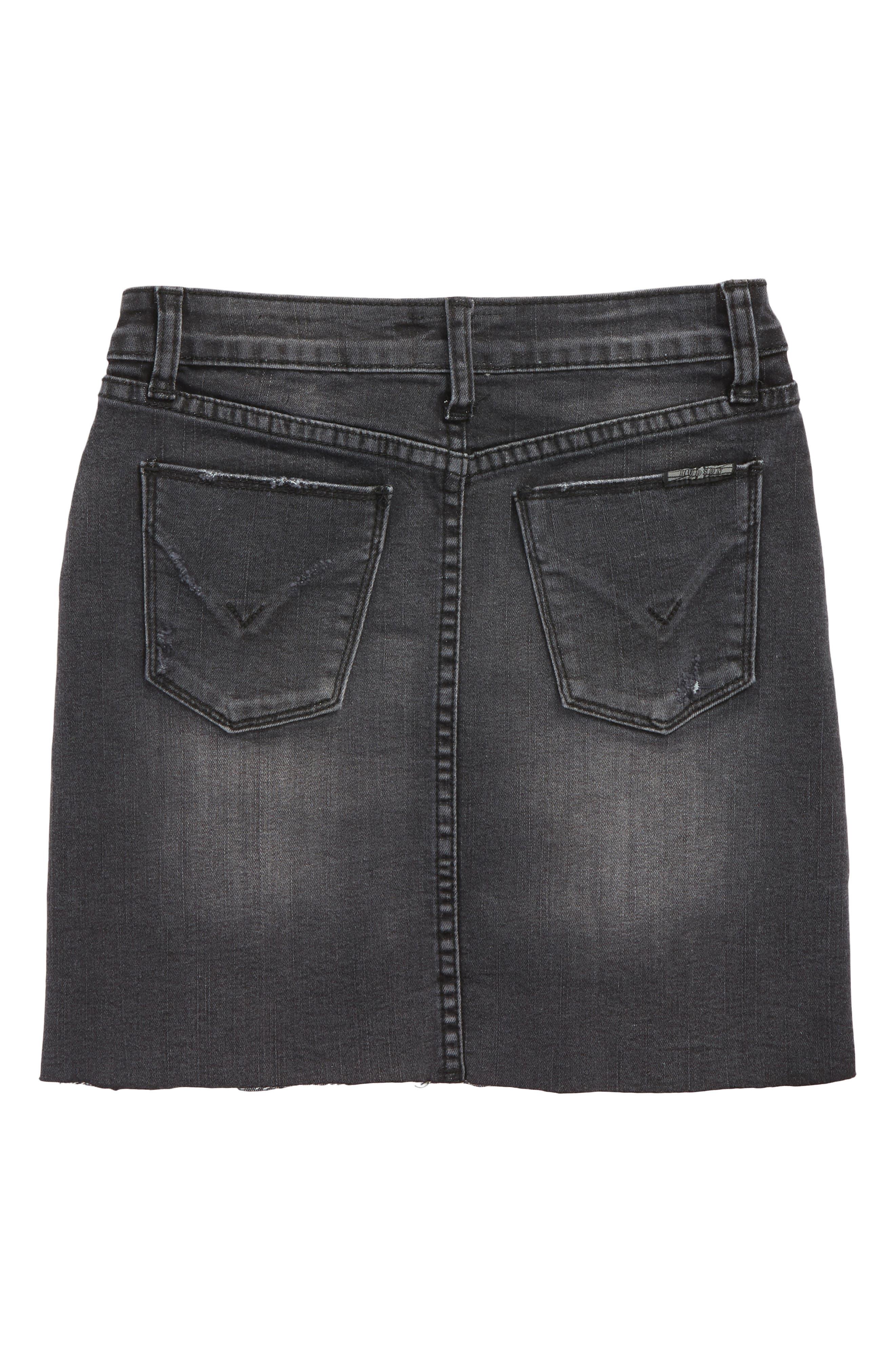 Tara Cutoff Denim Skirt,                             Alternate thumbnail 2, color,                             Black Wash