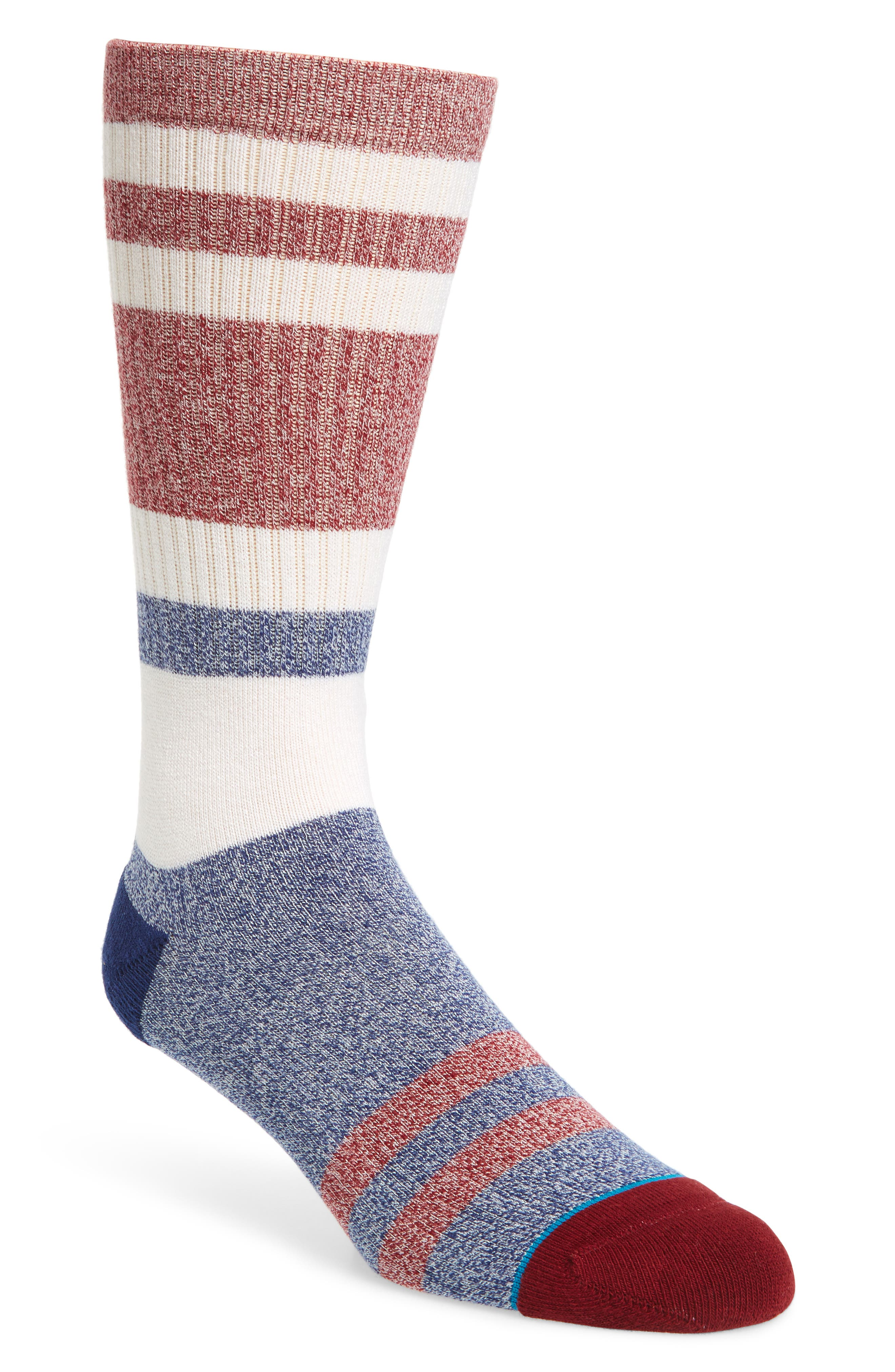 Robinsen Crew Socks,                             Main thumbnail 1, color,                             Red