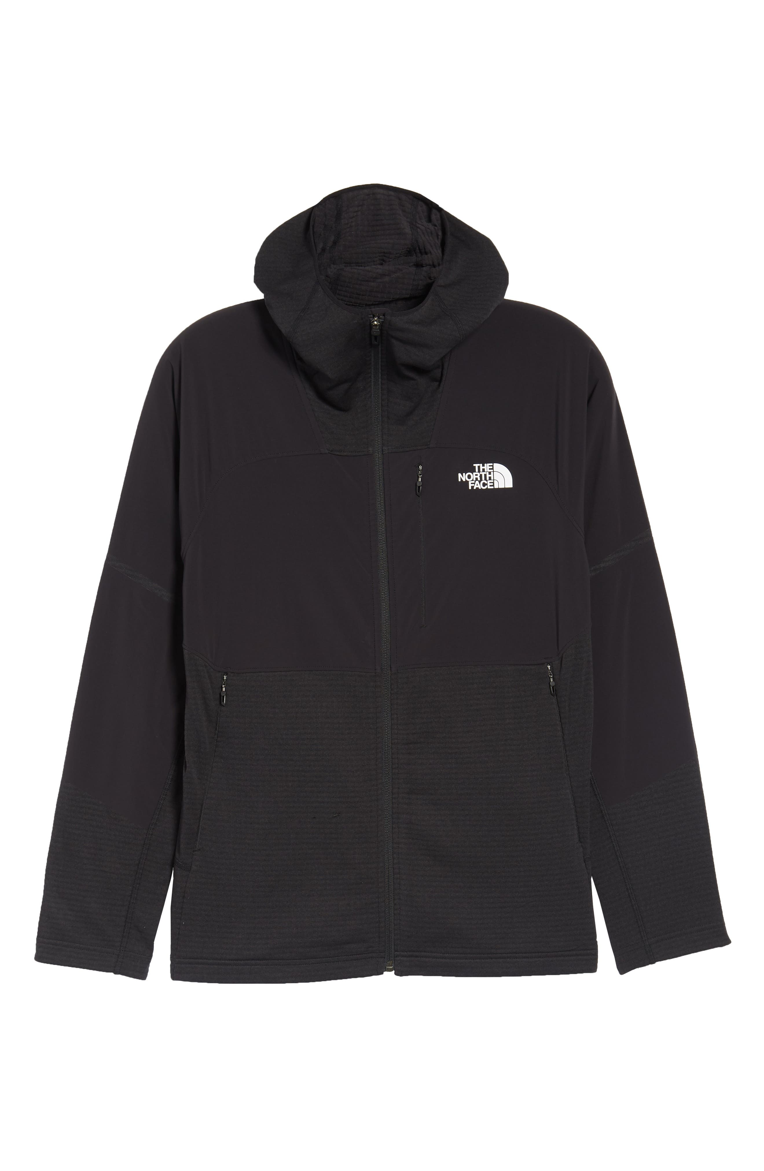 Progressor Power Grid<sup>™</sup> Hooded Fleece Jacket,                             Alternate thumbnail 6, color,                             Black/ Black