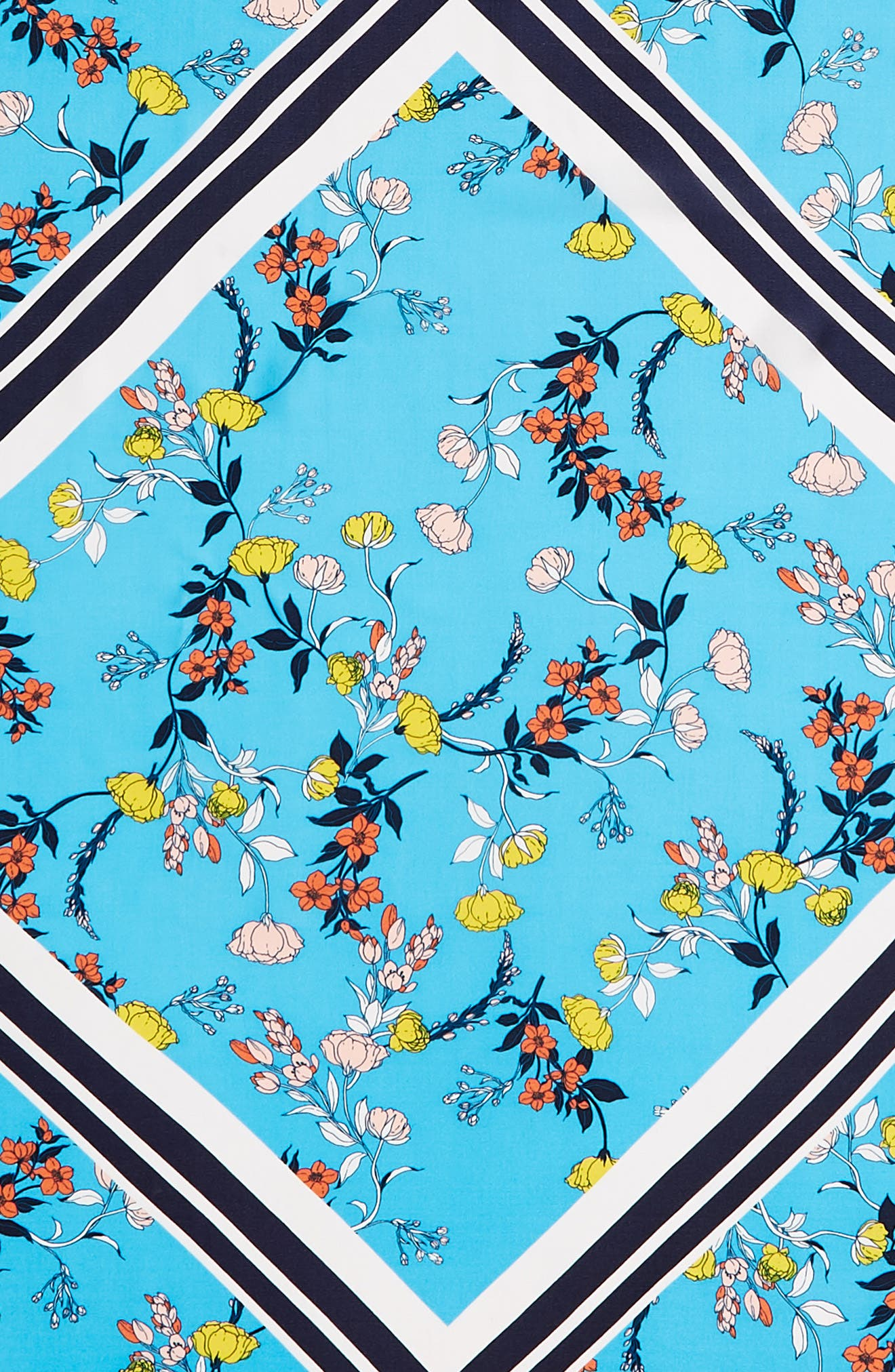 Print Silk Scarf,                             Alternate thumbnail 4, color,                             Blue Graphic Floral Mix