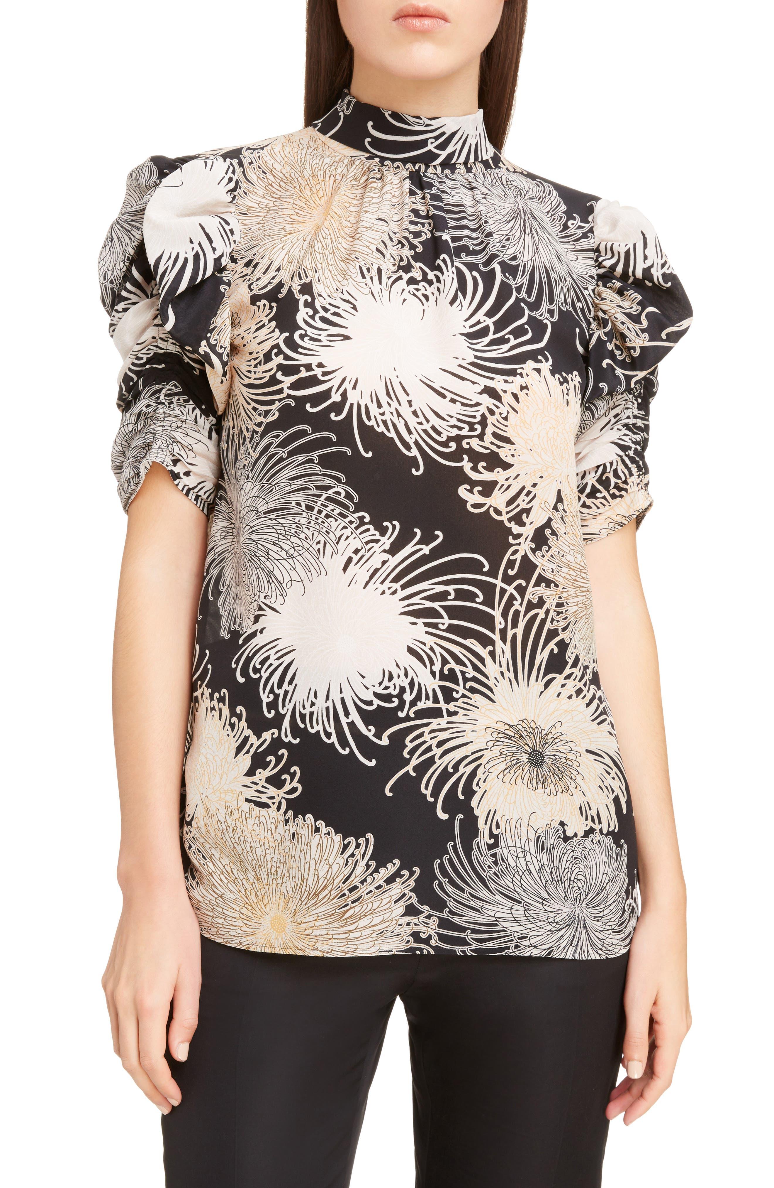 Nº21 Floral Print Tie Back Silk Top,                         Main,                         color, Black
