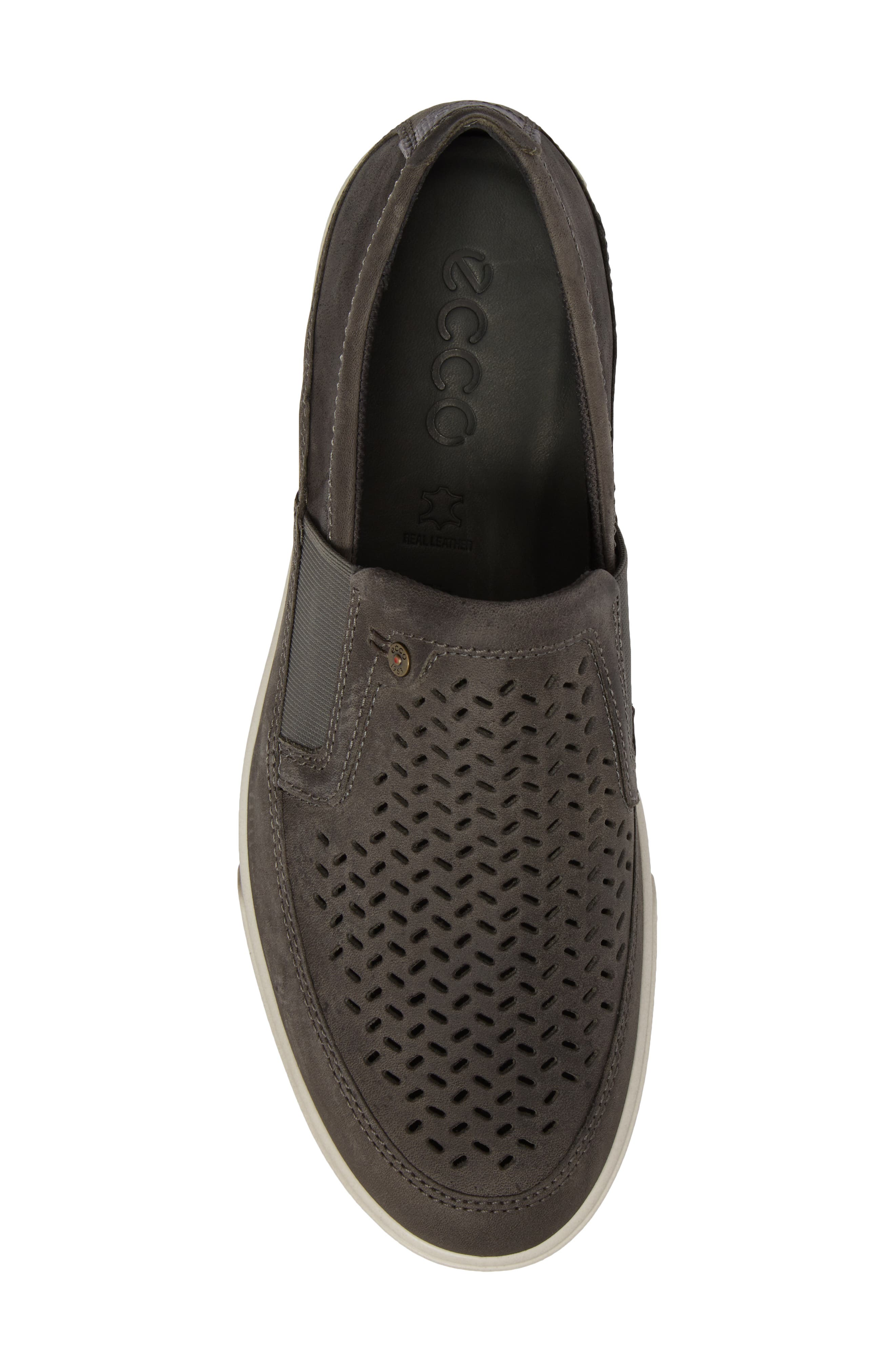 'Collin' Perforated Slip On Sneaker,                             Alternate thumbnail 5, color,                             Titanium Leather