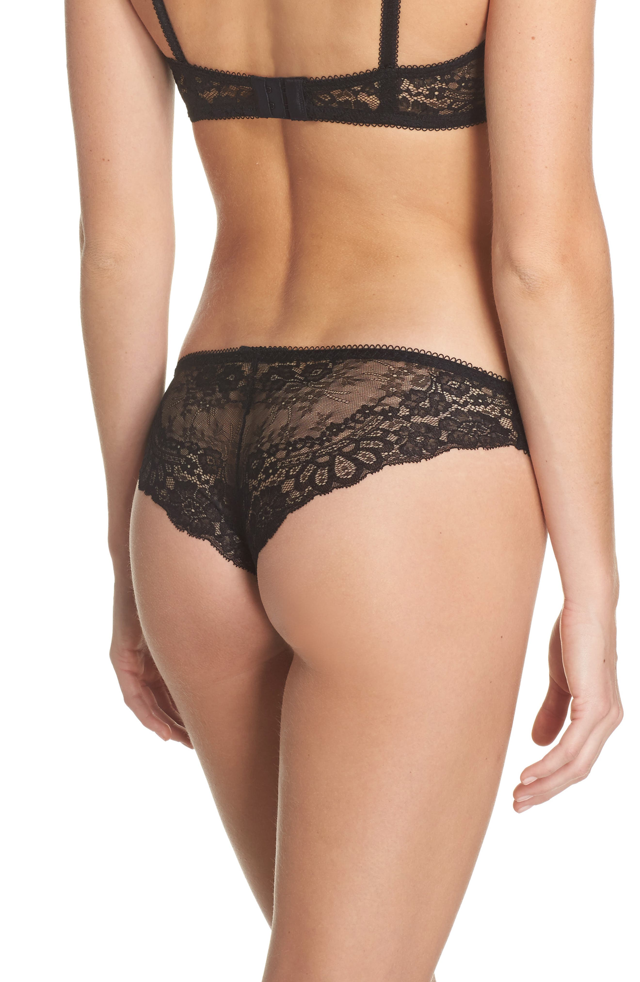 Lace Cheeky Panties,                             Alternate thumbnail 2, color,                             Black