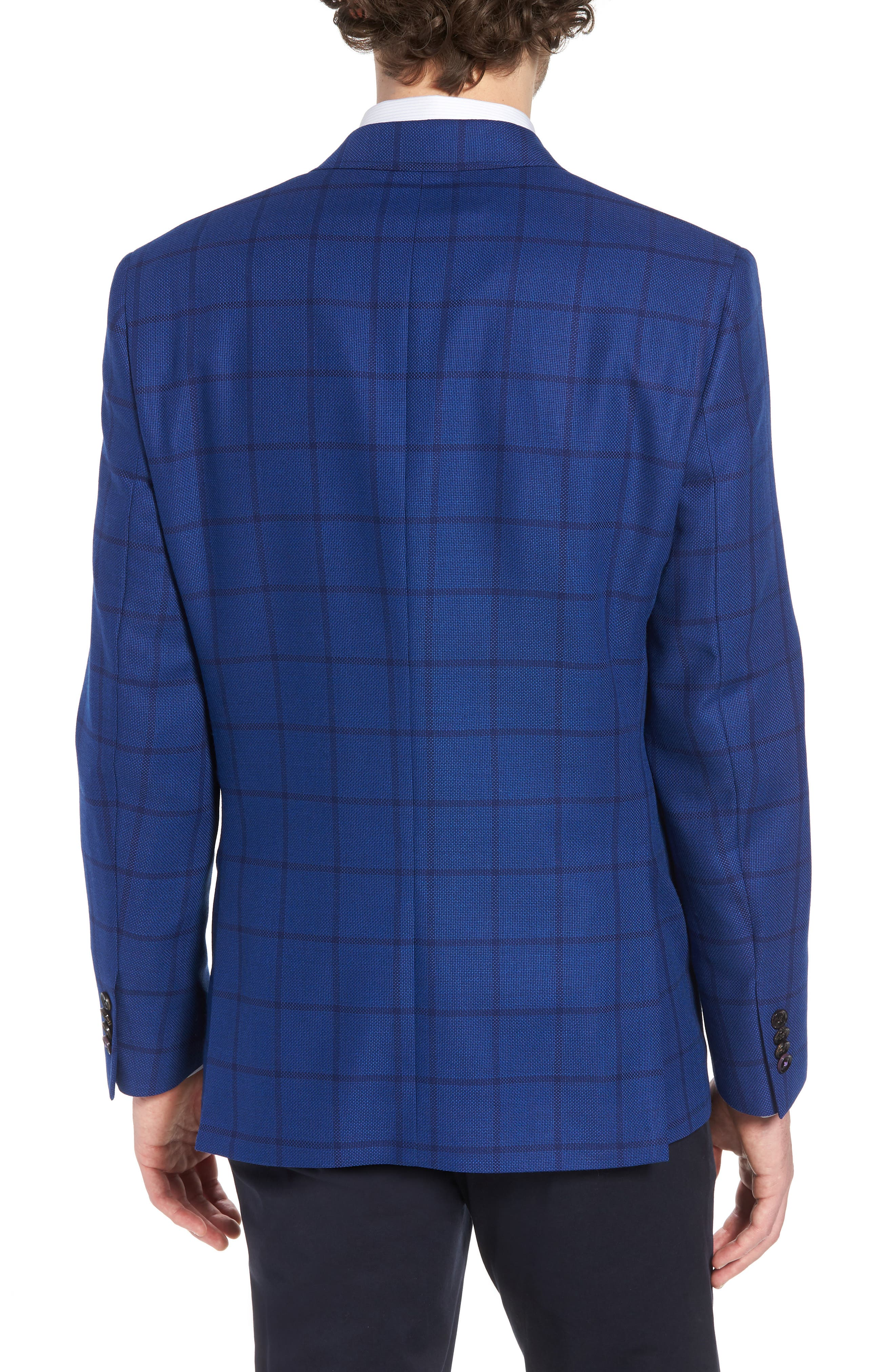 Jay Trim Fit Windowpane Wool Sport Coat,                             Alternate thumbnail 2, color,                             Blue