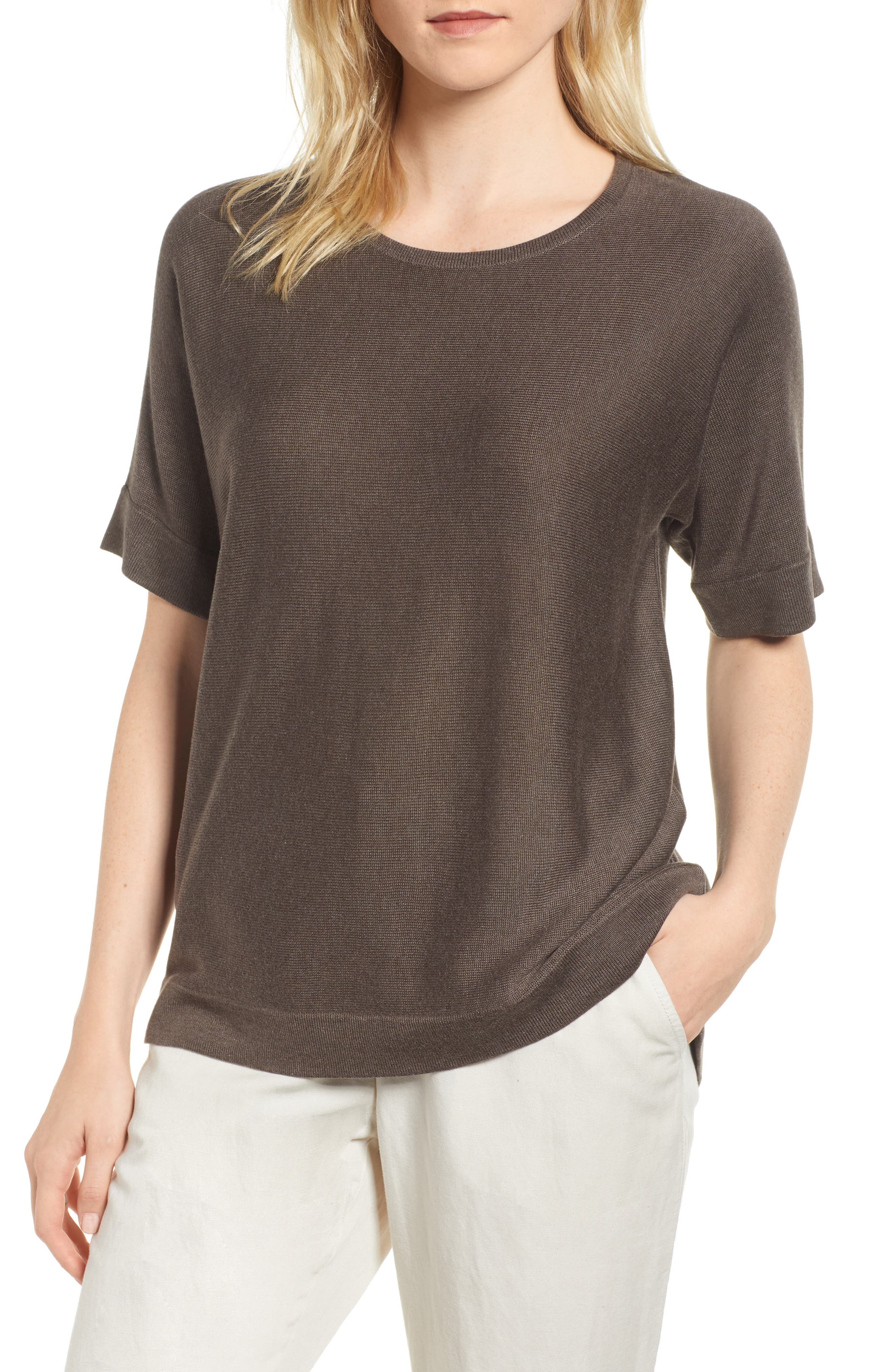 Round Neck Top,                             Main thumbnail 1, color,                             Rye