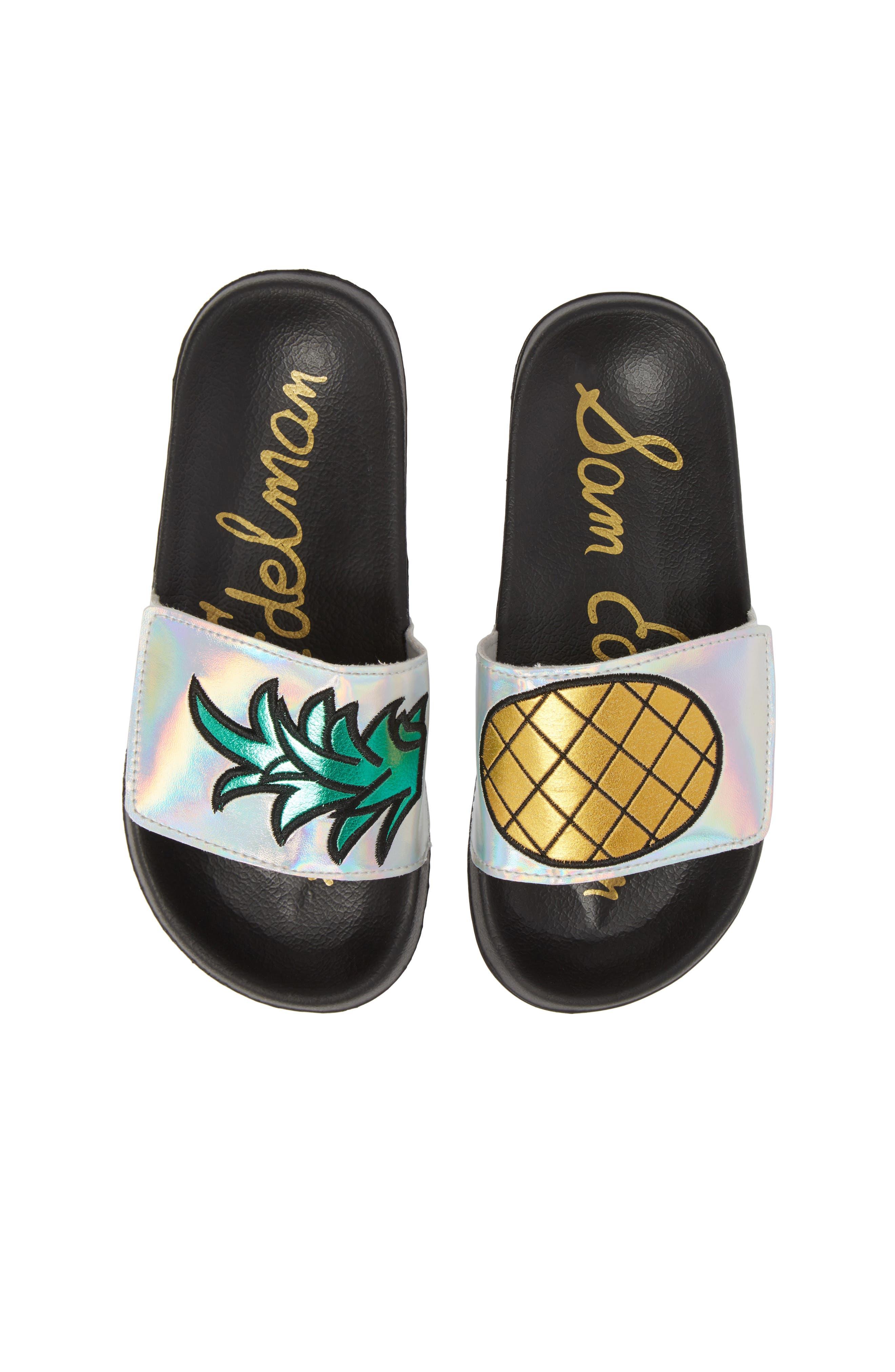 Mackie Pineapple Metallic Slide Sandal,                             Main thumbnail 1, color,                             Silver Holographic Leather