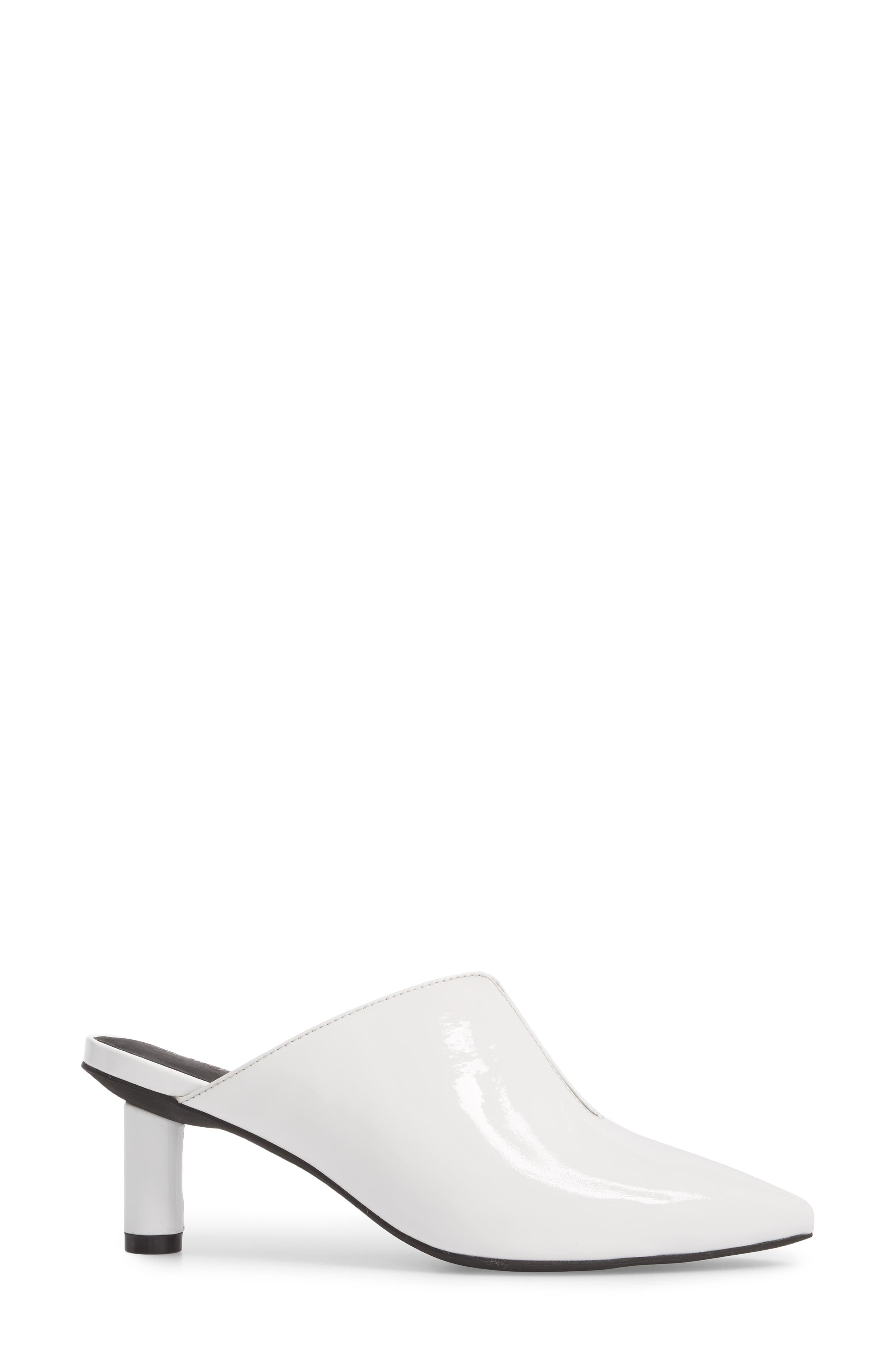 Saltaire Pointy Toe Mule,                             Alternate thumbnail 3, color,                             White Patent Leather
