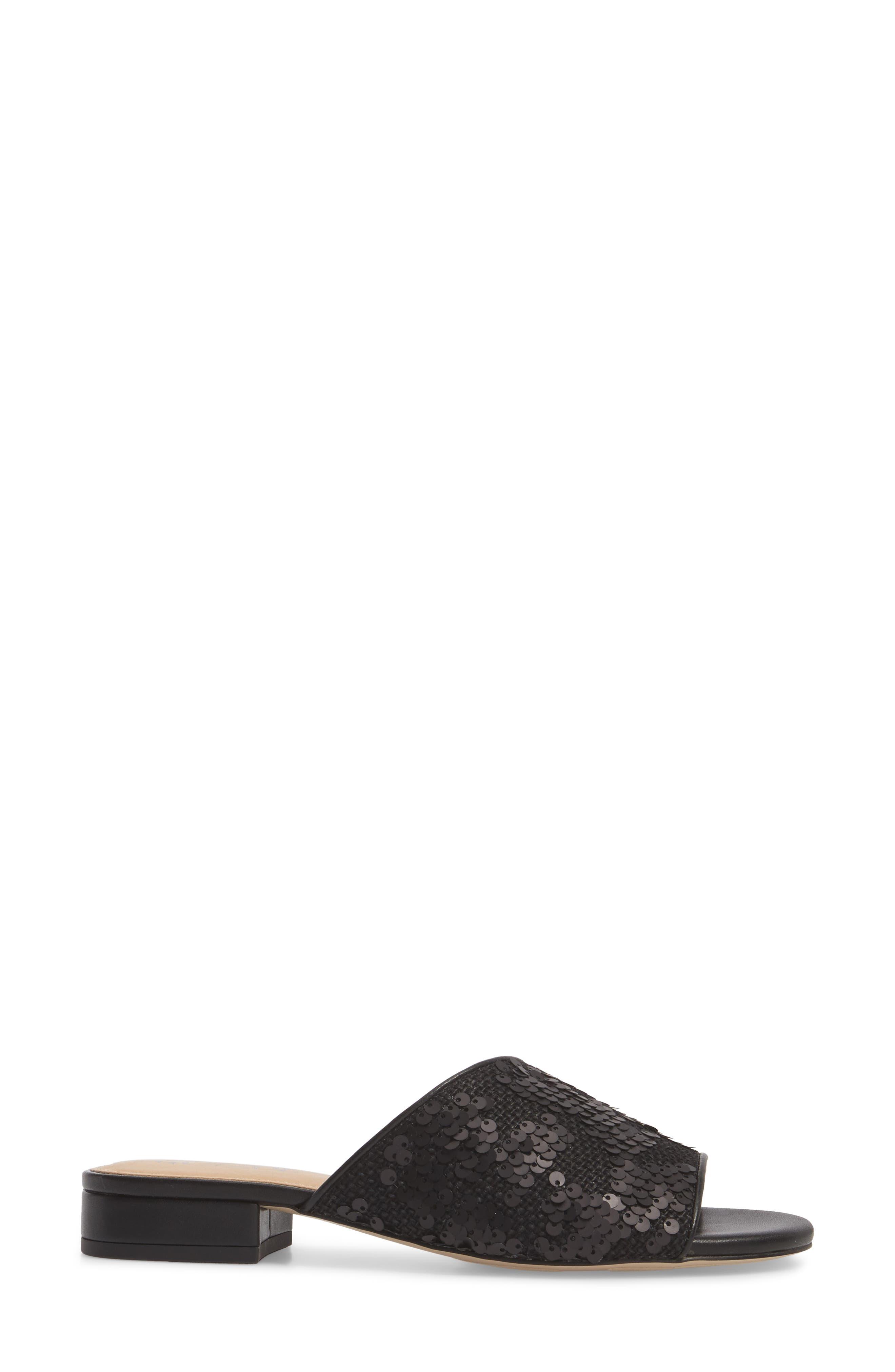 Stella Slide Sandal,                             Alternate thumbnail 3, color,                             Black Sequin Fabric