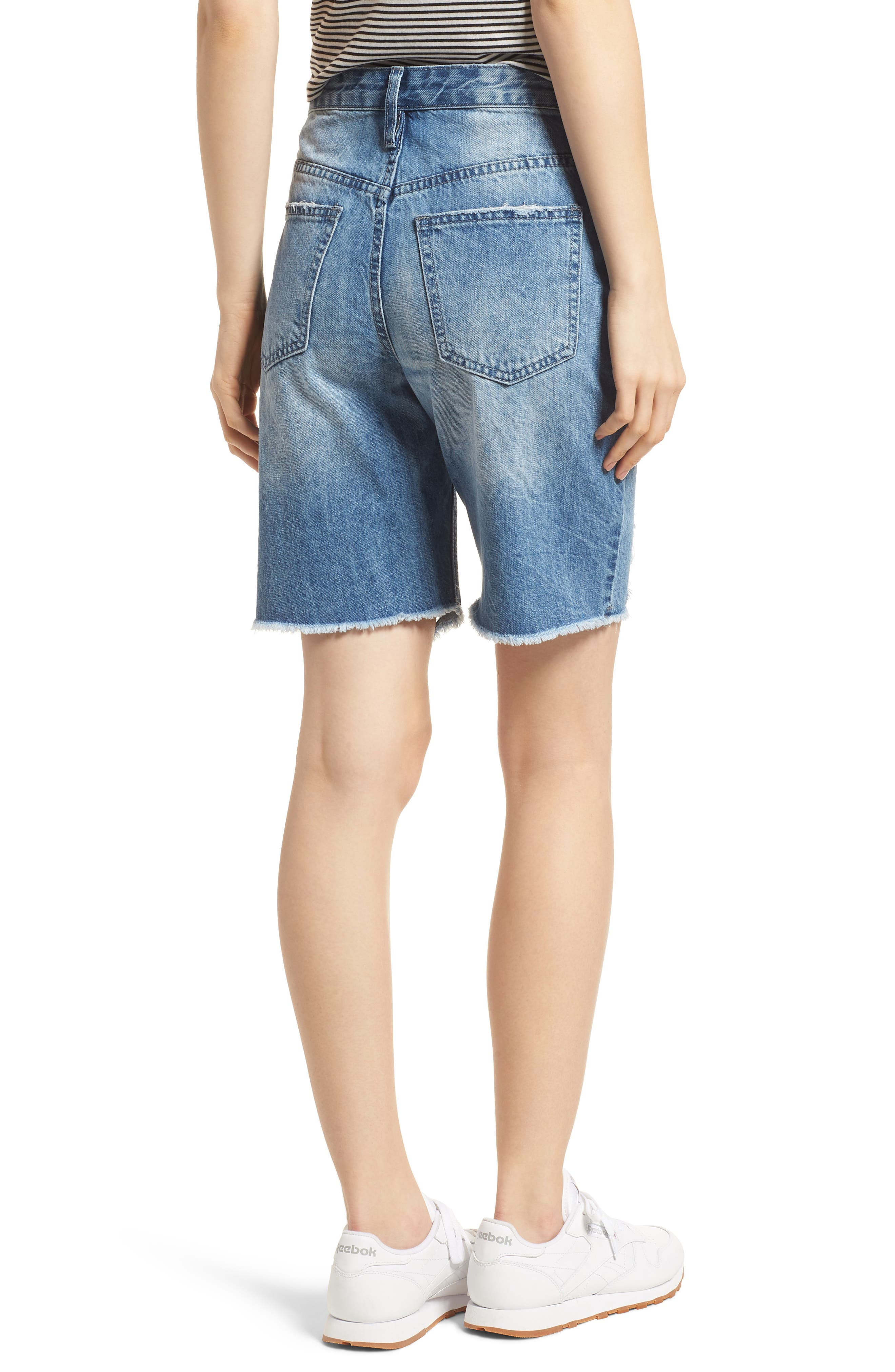 Shredded Denim Bermuda Shorts,                             Alternate thumbnail 2, color,                             Light Wash