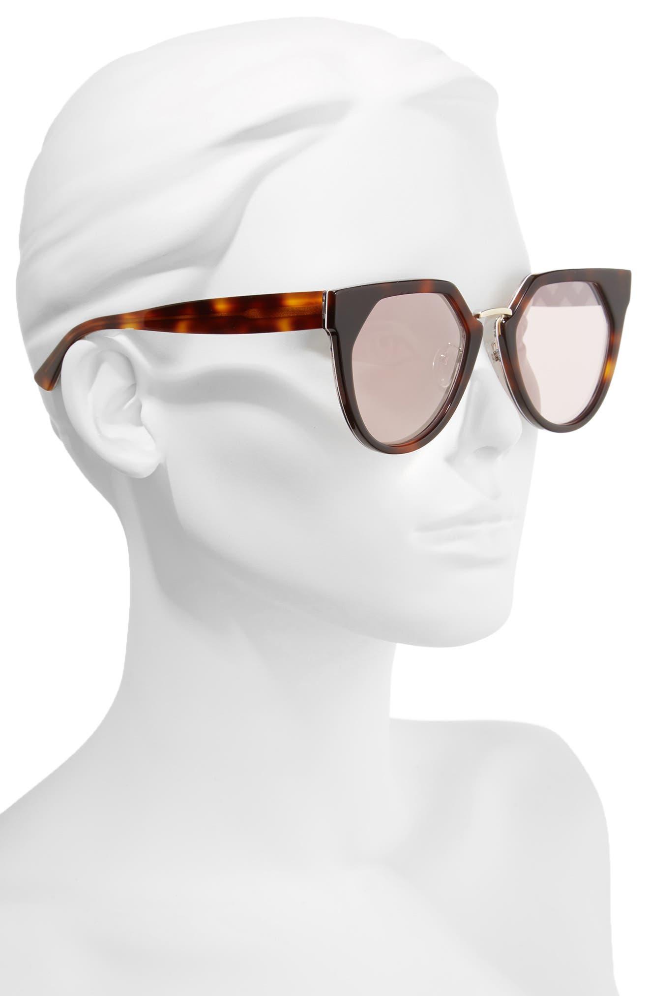 53mm Cat Eye Sunglasses,                             Alternate thumbnail 2, color,                             Havana