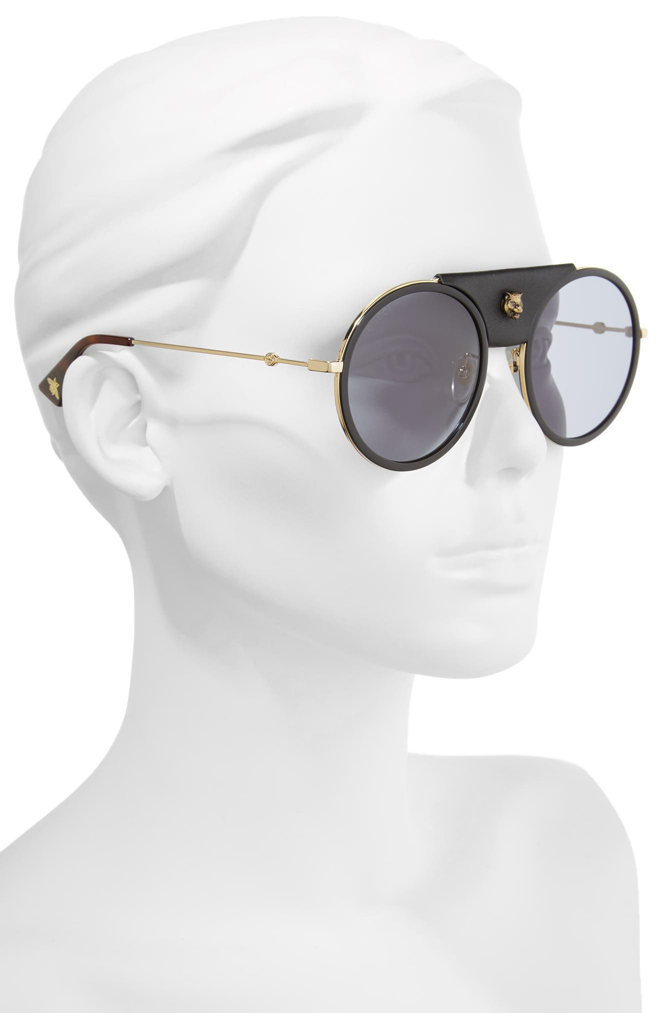 Alternate Image 2  - Gucci 56mm Leather Bridge Aviator Sunglasses