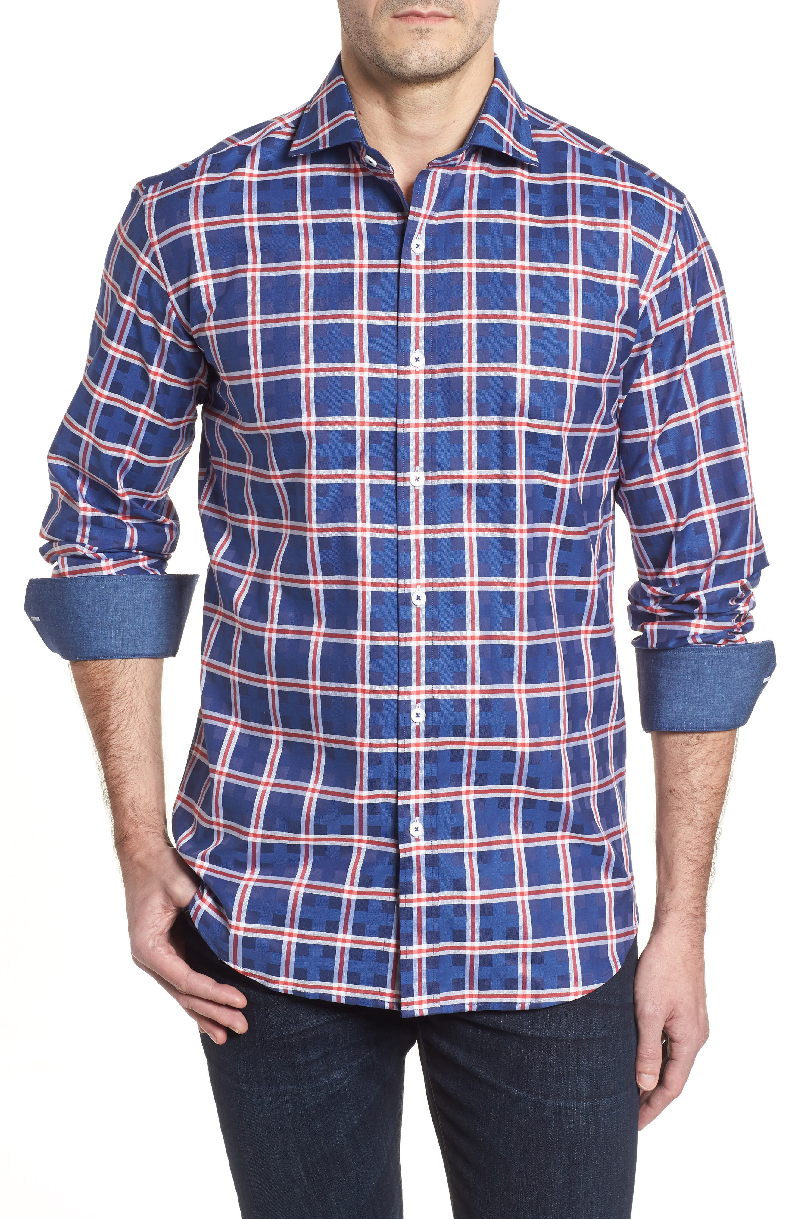 Shaped Fit Check Sport Shirt,                         Main,                         color, Navy