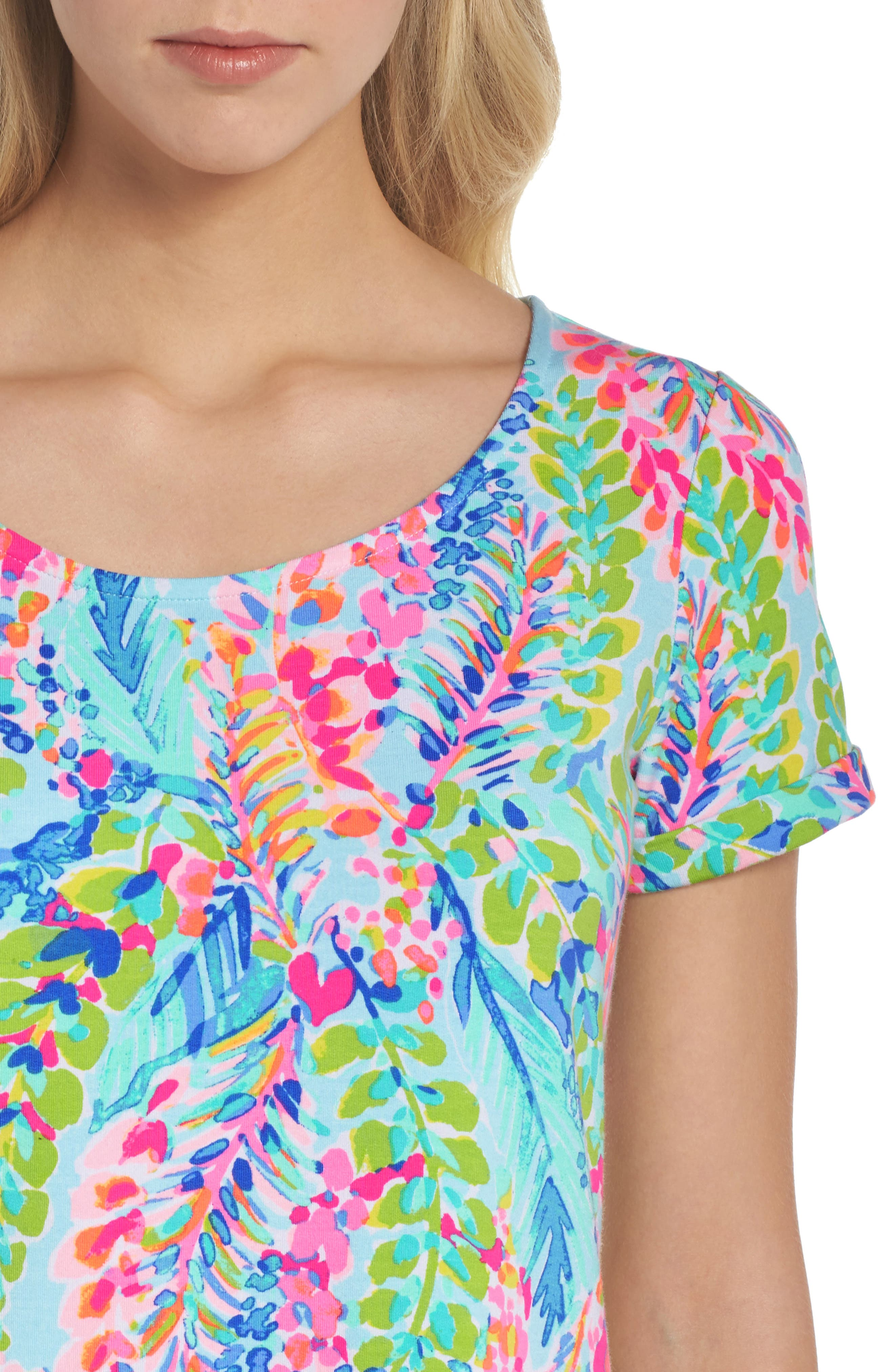 Tammy UPF 50+ Print Shift Dress,                             Alternate thumbnail 4, color,                             Multi Catch The Wave