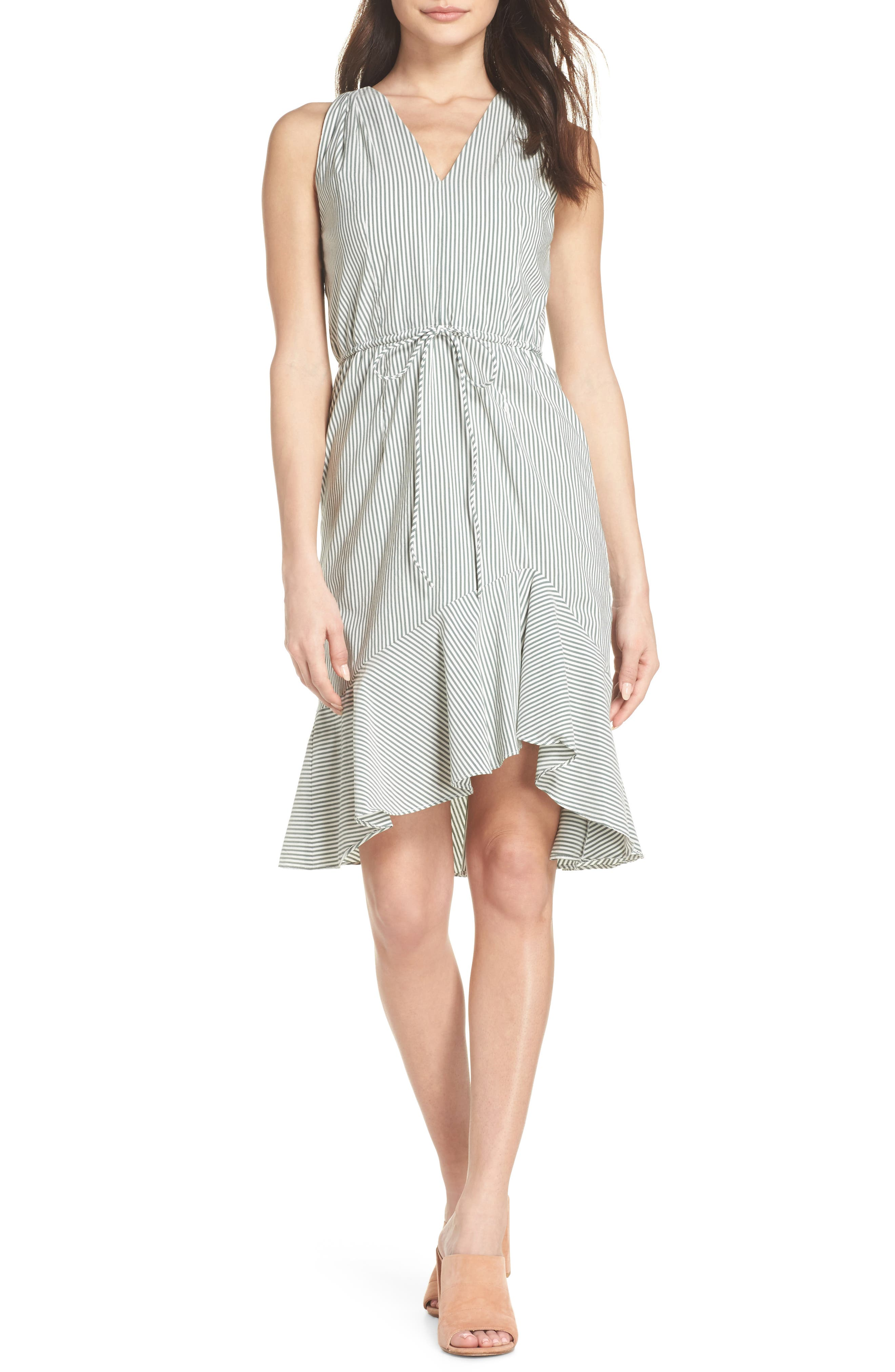 Stripe High/Low Dress,                         Main,                         color, Olive/ White