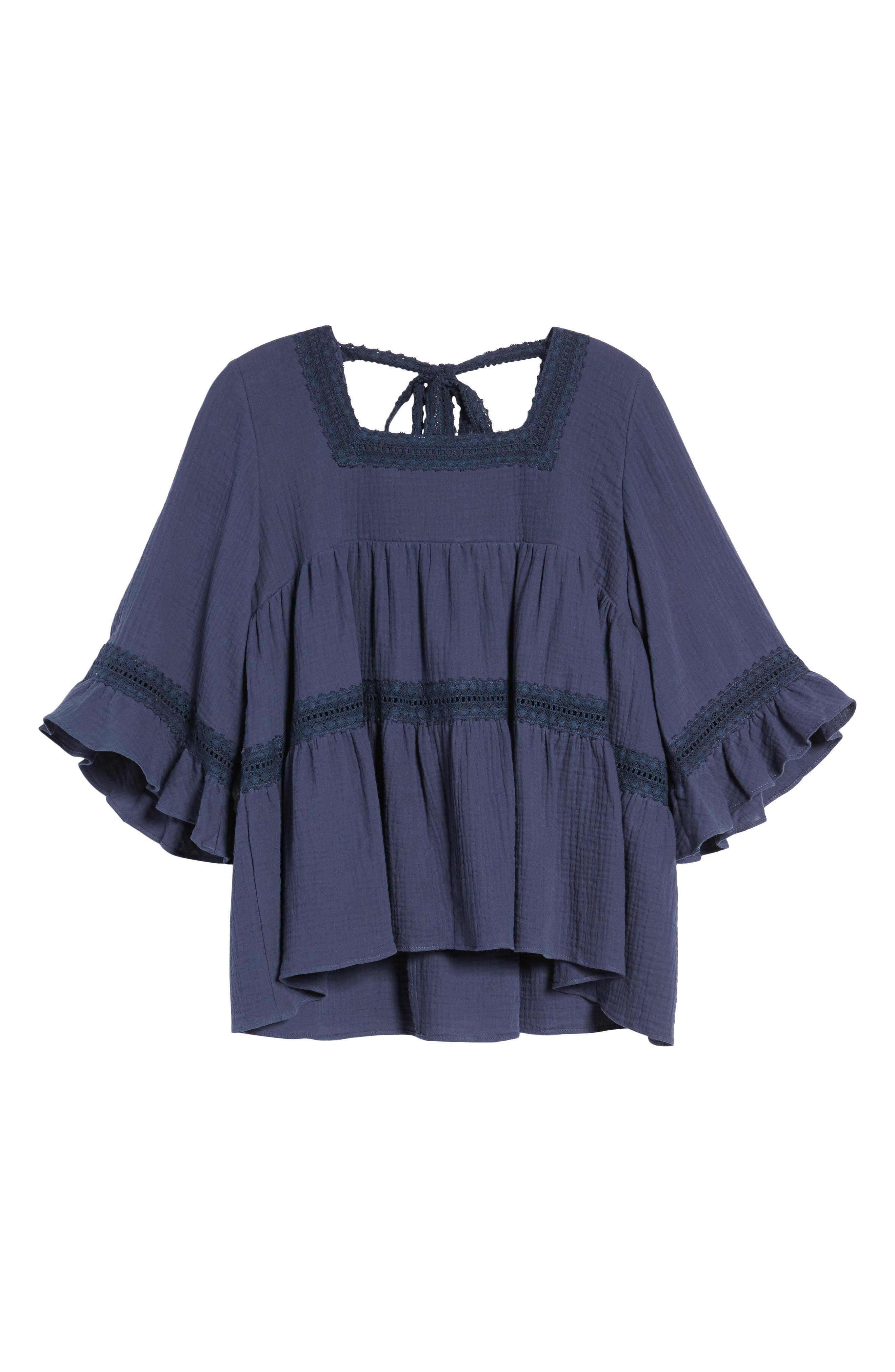 Lace Trim Blouse,                             Alternate thumbnail 7, color,                             Navy Indigo