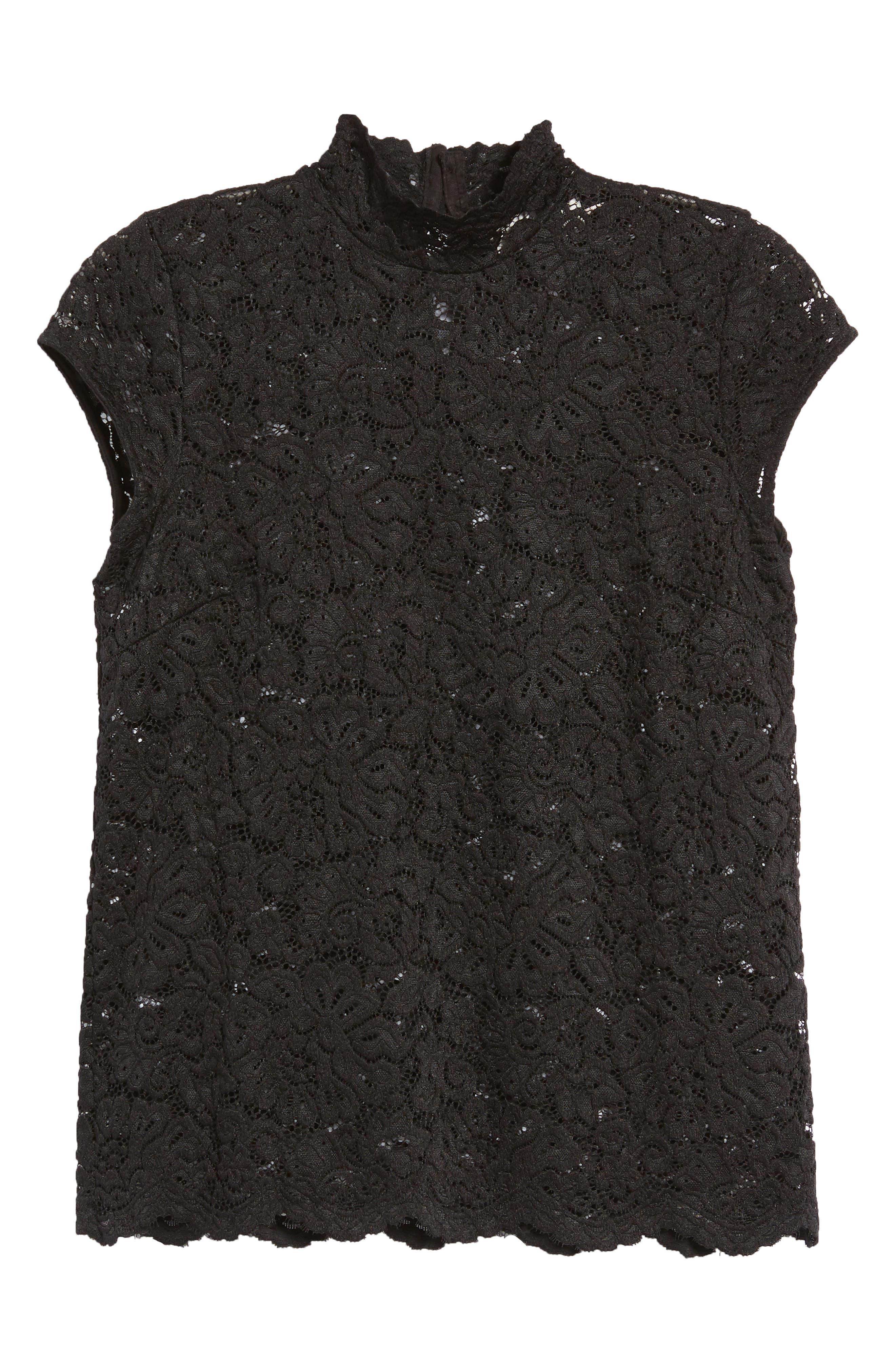 Filippa Lace Cap Sleeve Top,                             Alternate thumbnail 7, color,                             Black