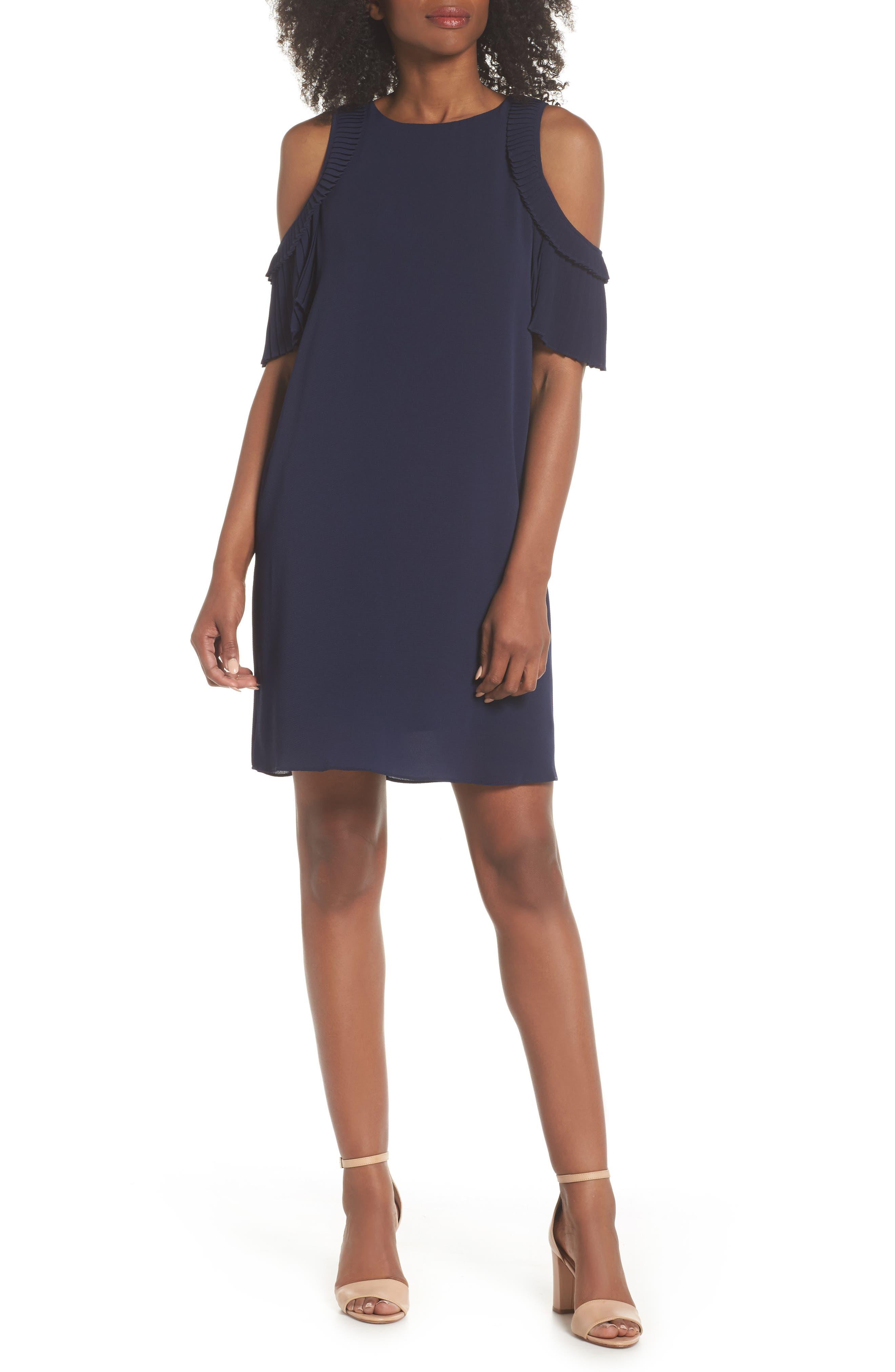 Cold Shoulder Shift Dress,                         Main,                         color, Galaxy Blue