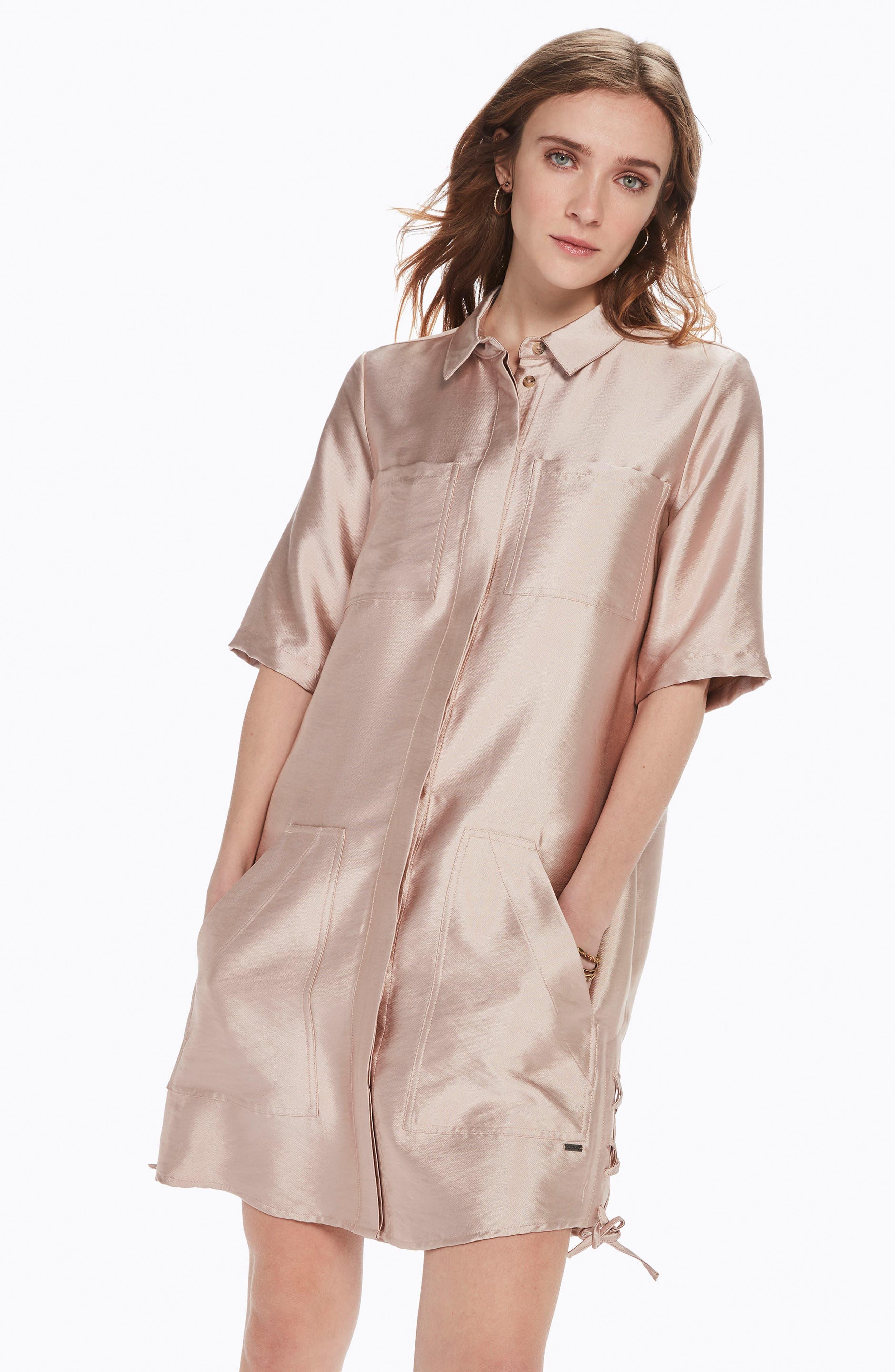 Safari Shirtdress,                             Alternate thumbnail 2, color,                             Pink Sand