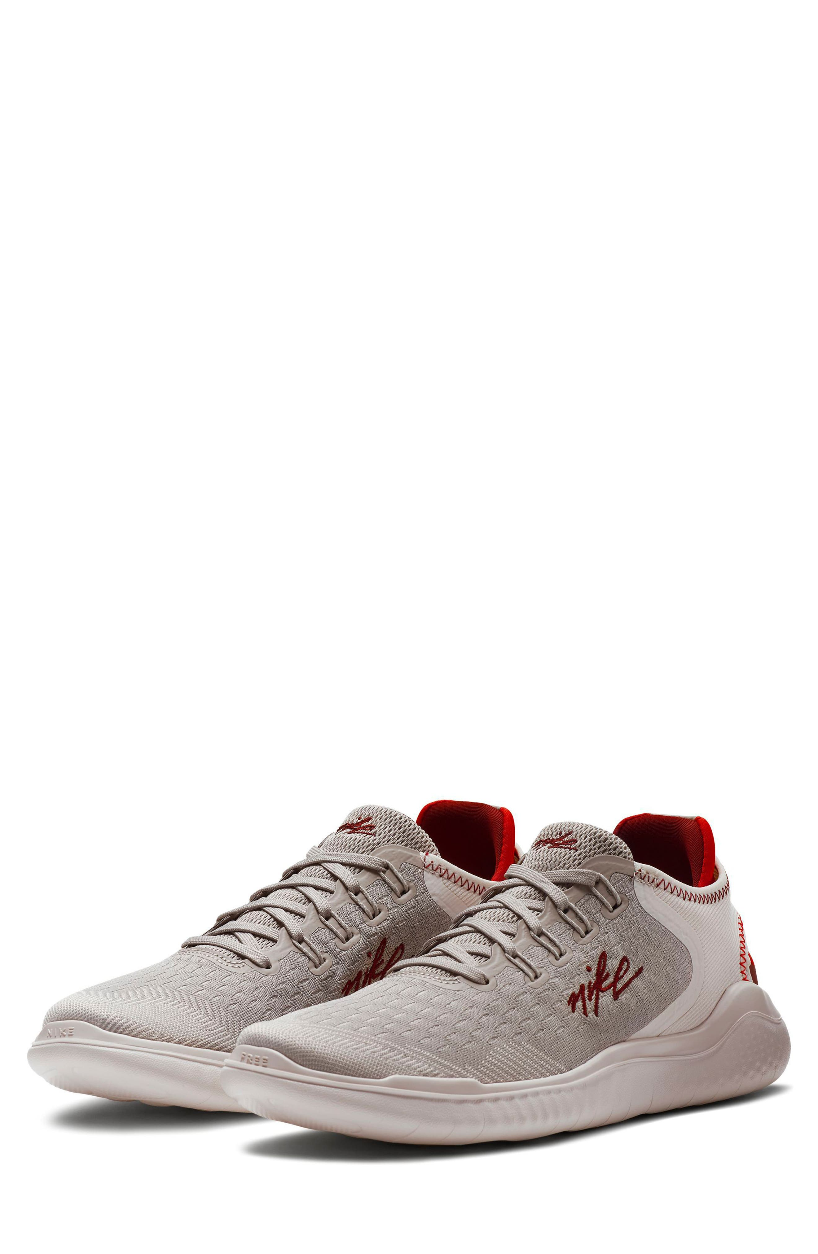 Free RN 2018 Running Shoe,                         Main,                         color, Moon Particle/ Team Red