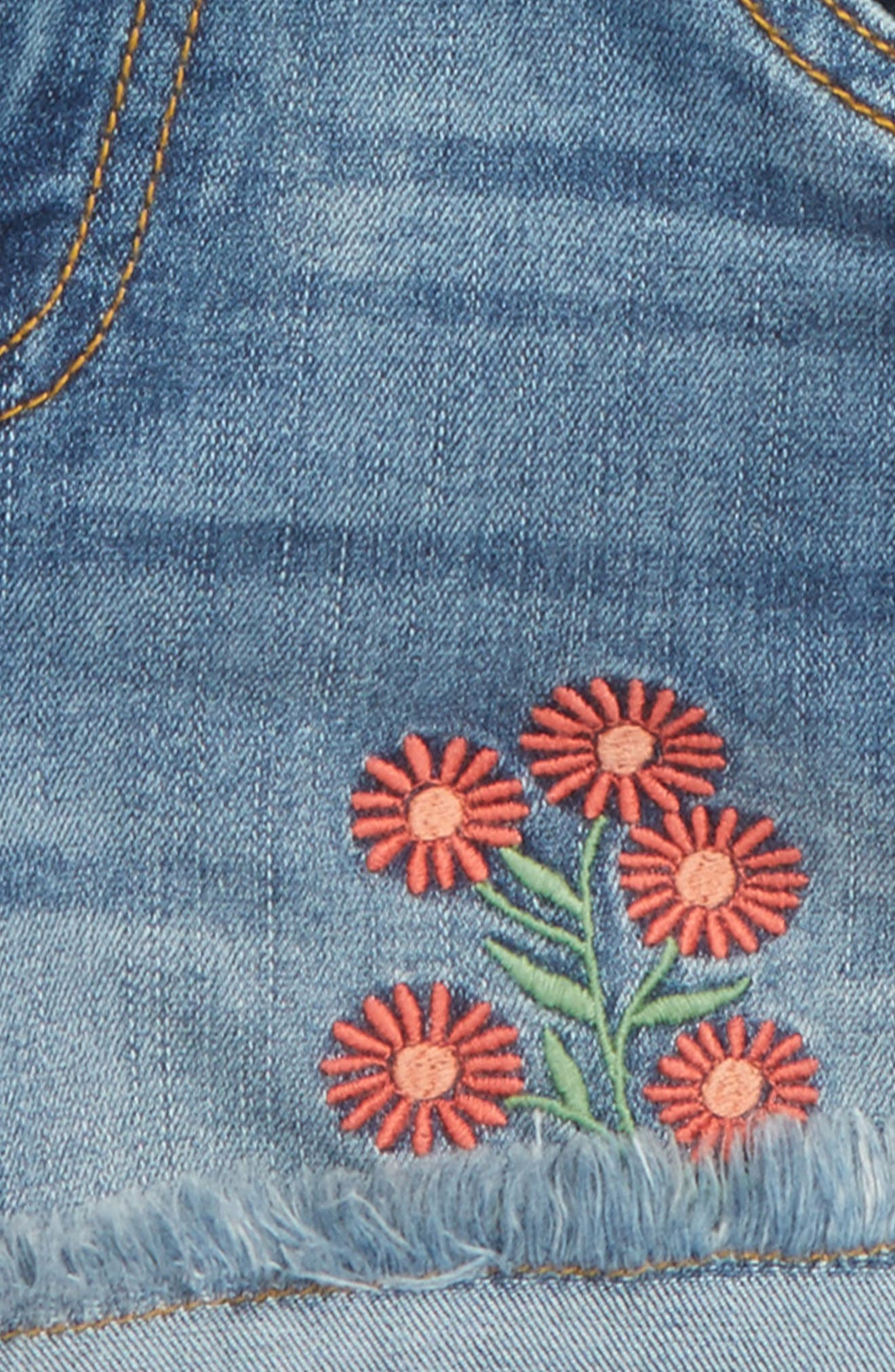 Flower Embroidered Denim Shorts,                             Alternate thumbnail 2, color,                             Lake Wash