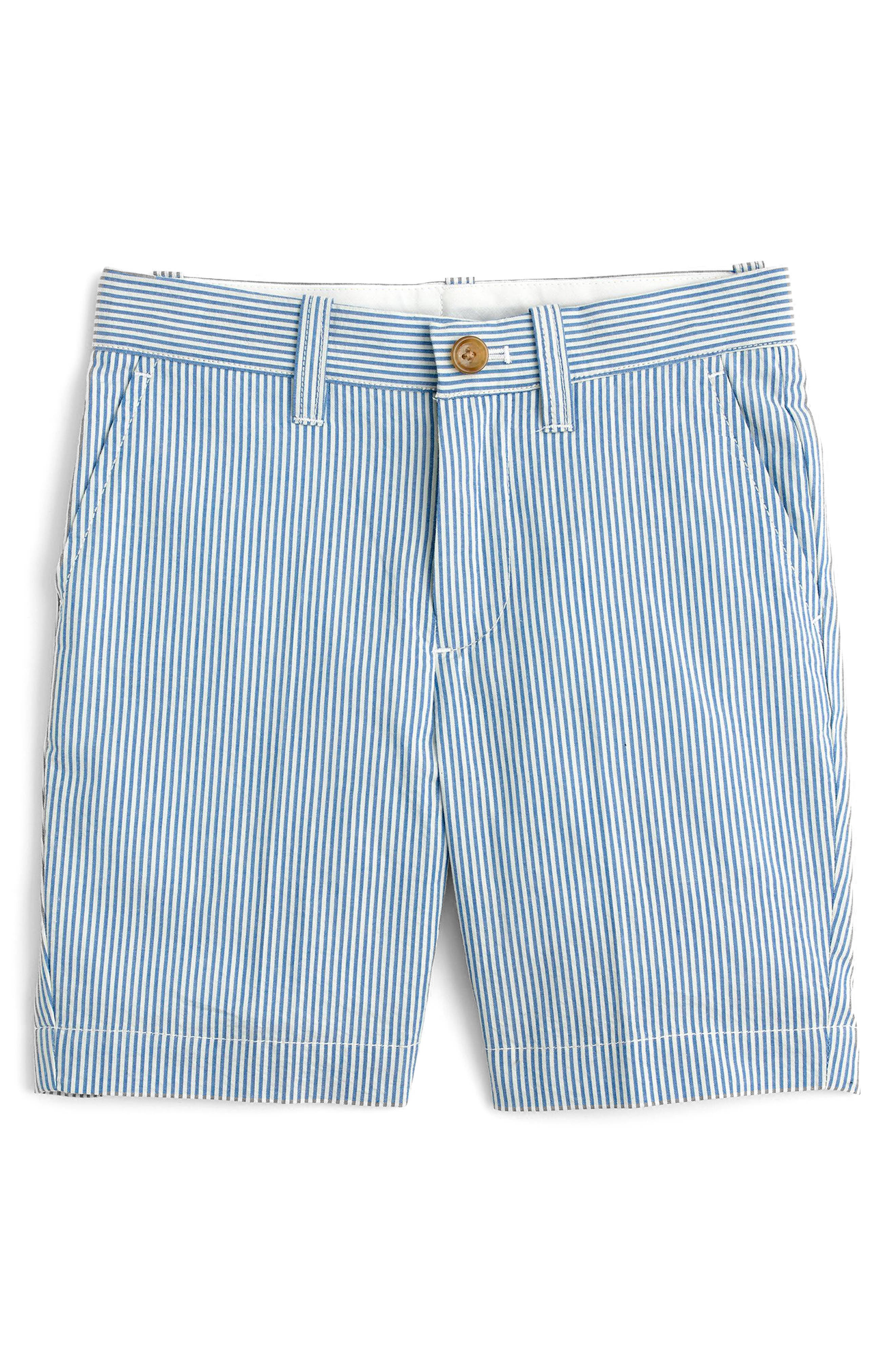 Seersucker Shorts,                         Main,                         color, Crisp Azure White