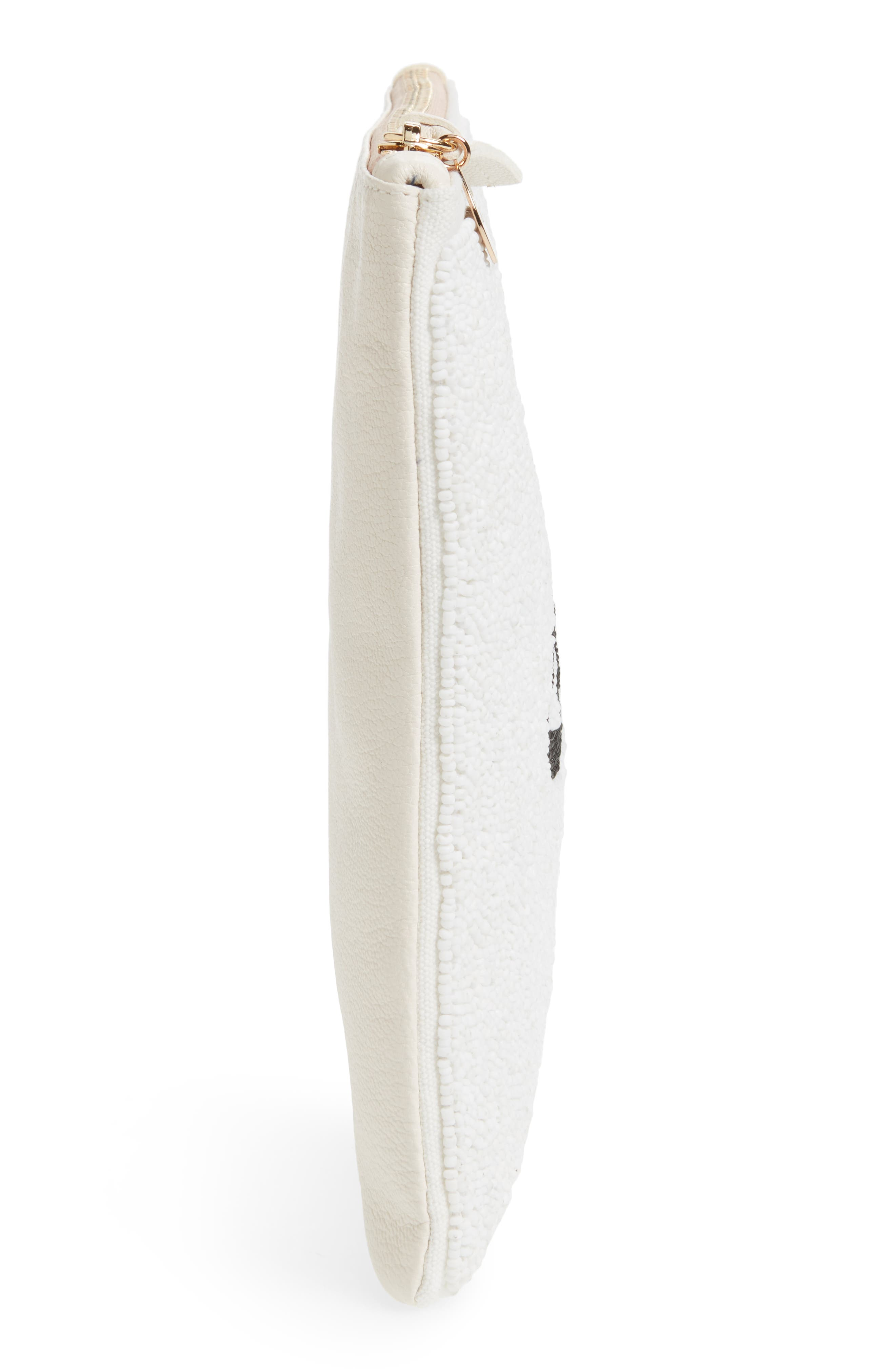 Eyes Printed Nappa Leather Clutch,                             Alternate thumbnail 5, color,                             Beaded White With Black Eyes