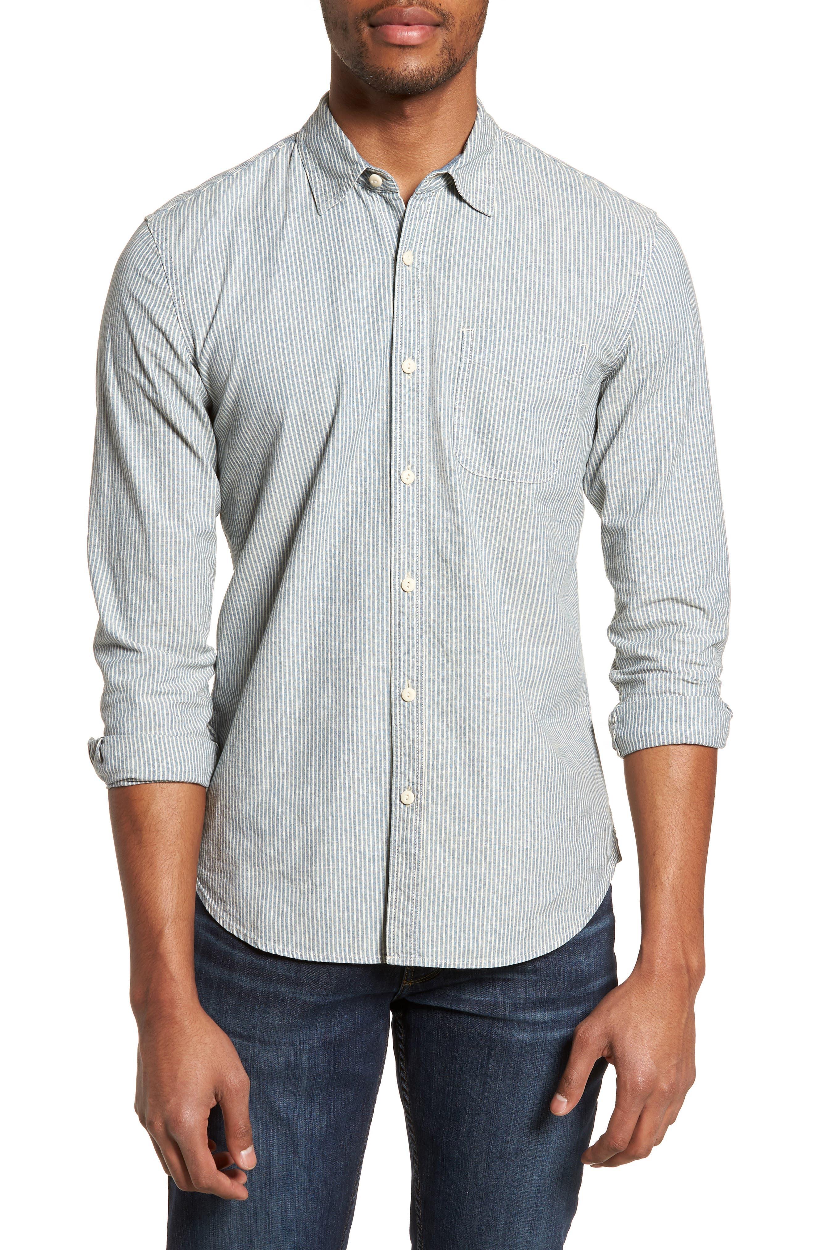 Nelson Slim Fit Stripe Sport Shirt,                             Main thumbnail 1, color,                             Indigo/ White Stripe