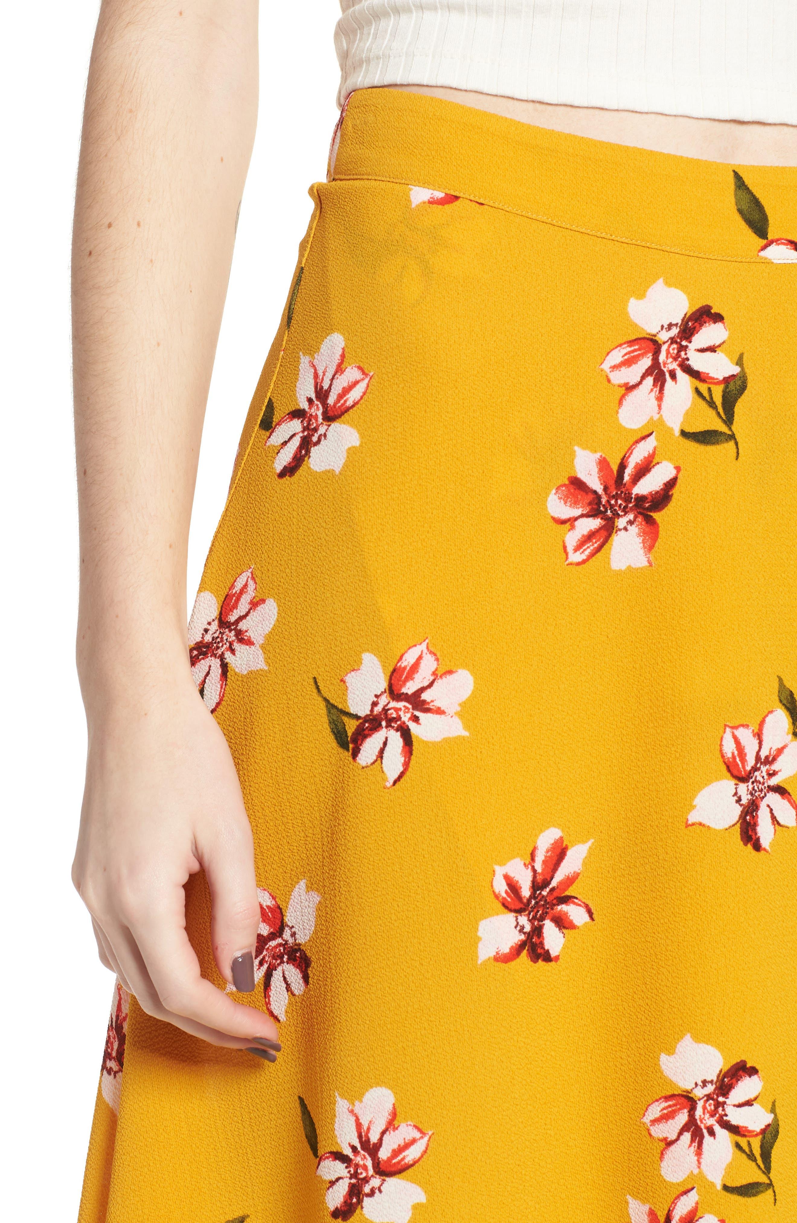 Floral Surplice Skirt,                             Alternate thumbnail 5, color,                             Mustard Floral